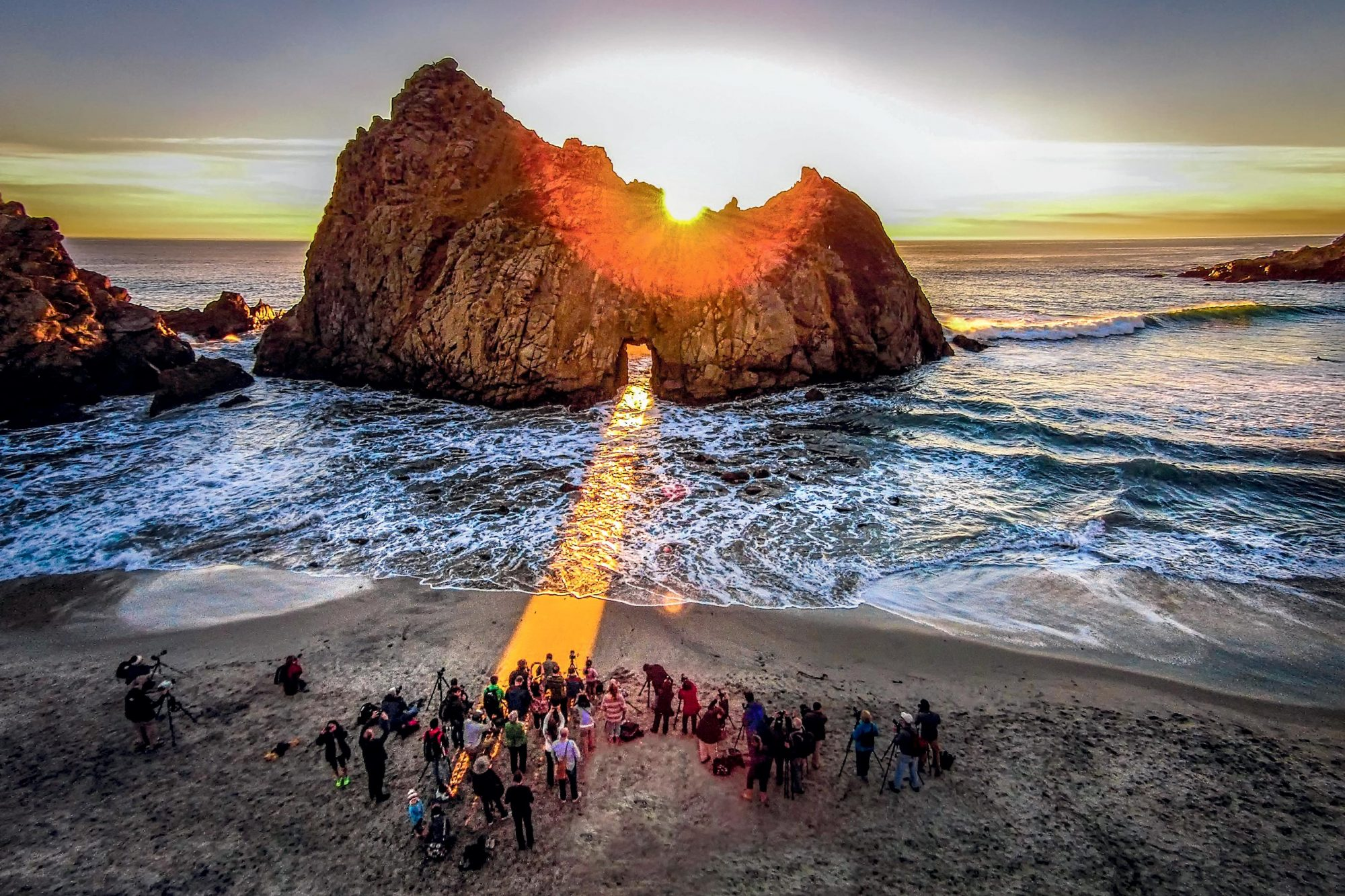 The Sun Pouring Through Keyhole Arch on California's Pfeiffer Beach