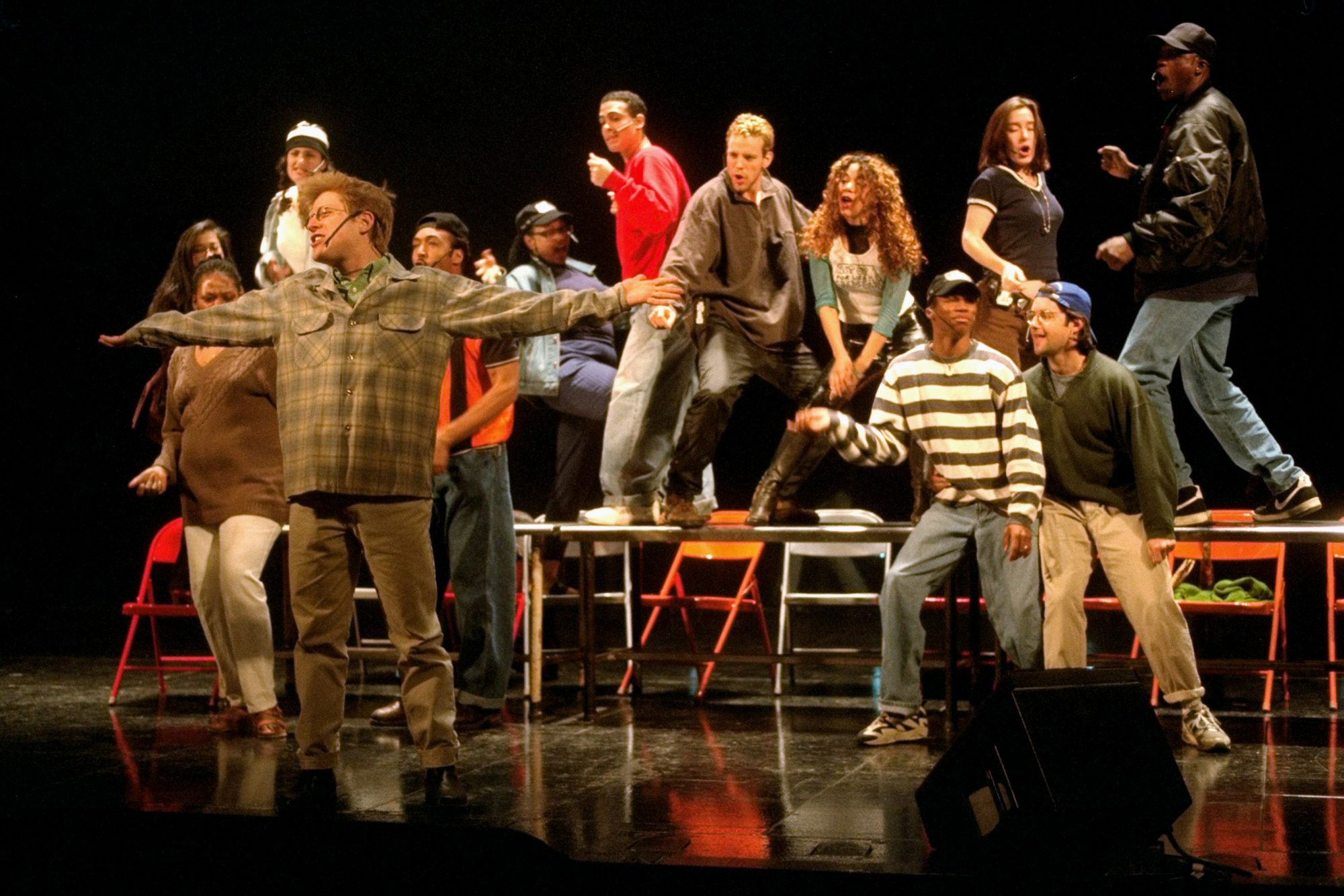 Cast of Rent rehearsing for the Tony Awards at the Majestic