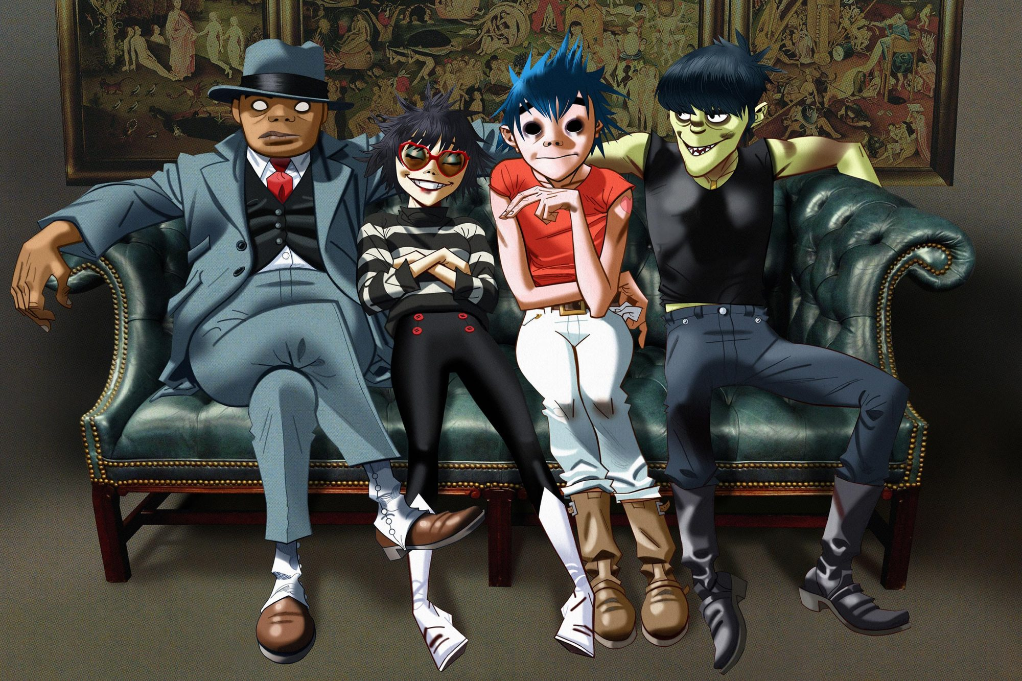 Gorillaz (2017)From left to right, Russel, Noodle, 2-D, Murdoc
