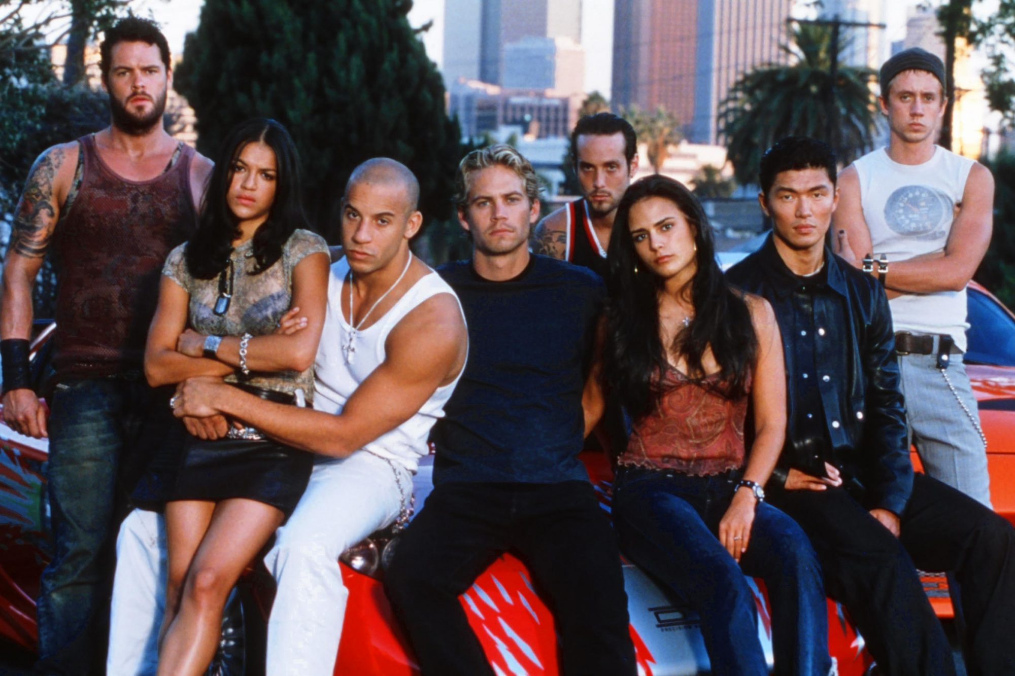 THE FAST AND THE FURIOUS, from left: Matt Schulze, Michelle Rodriguez, Vin Diesel, Paul Walker, John