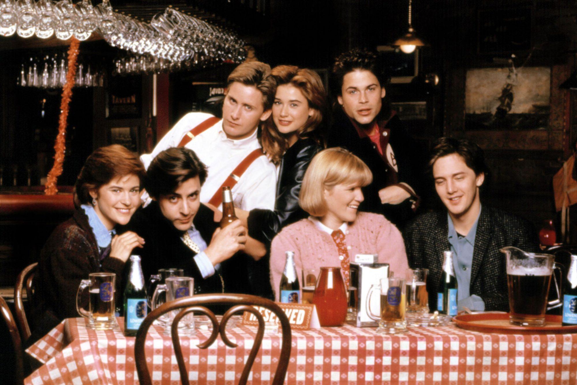 ST. ELMO'S FIRE, Ally Sheedy, Judd Nelson, Emilio Estevez, Demi Moore, Mare Winningham, Rob Lowe, An