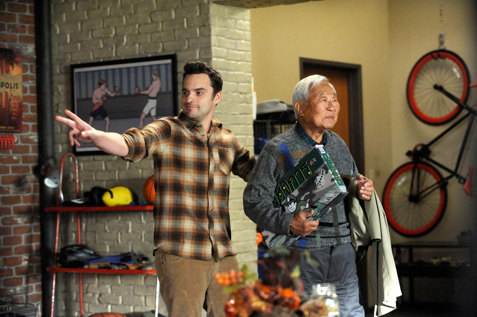 NEW GIRL, l-r: Jake Johnson, Ralph Ahn in 'Thanksgiving IV' (Season 4, Episode 9, aired November