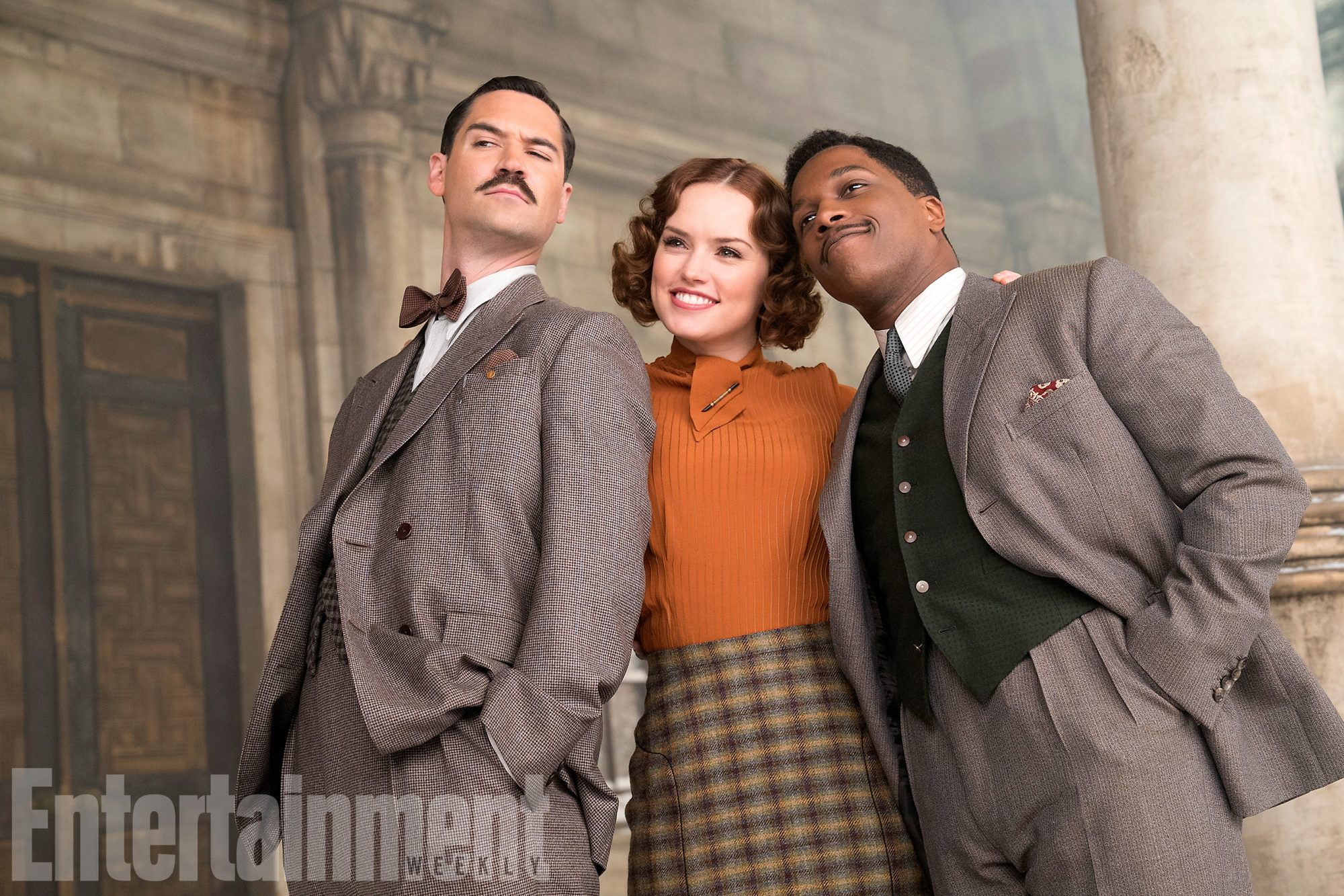 Manuel Garcia-Rulfo as Biniamino Marquez, Daisy Ridley as Mary Debenham, and Leslie Odom Jr. as Doctor Arbuthnot