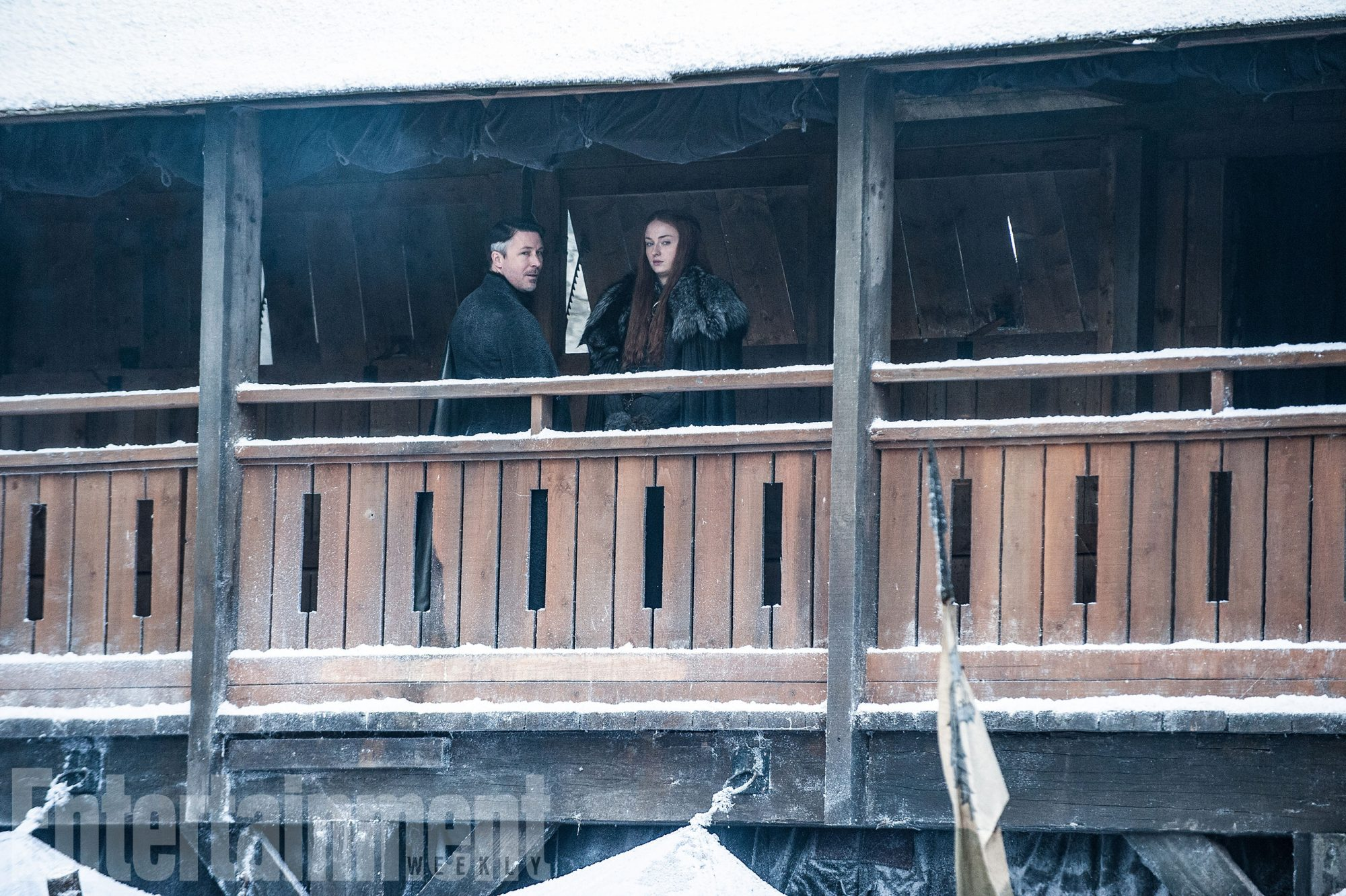 Littlefinger (Aidan Gillen) and Sansa Stark (Sophie Turner) plot at Winterfell