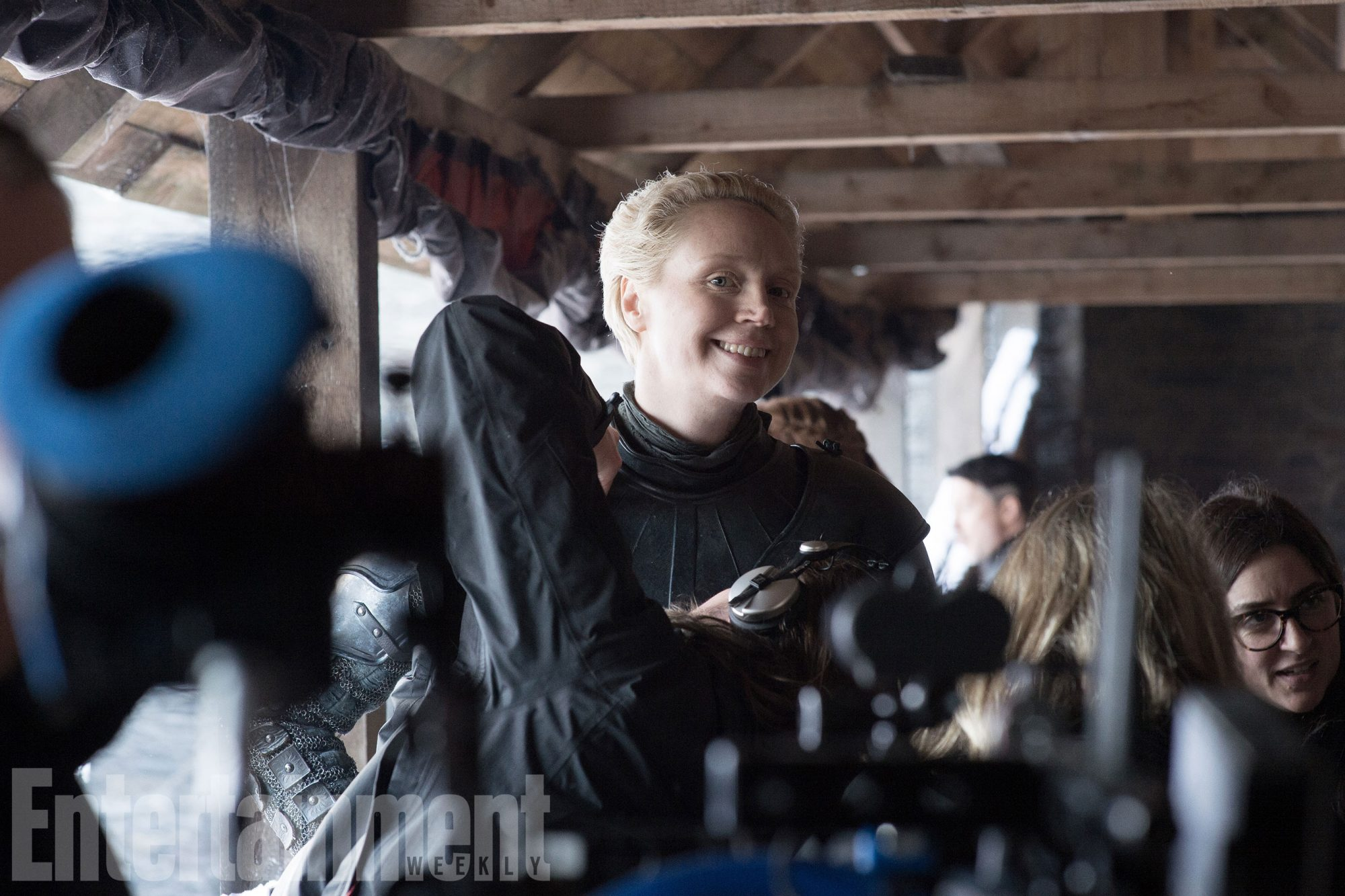 Gwendoline Christie (Brienne of Tarth) has a laugh on the set of Winterfell