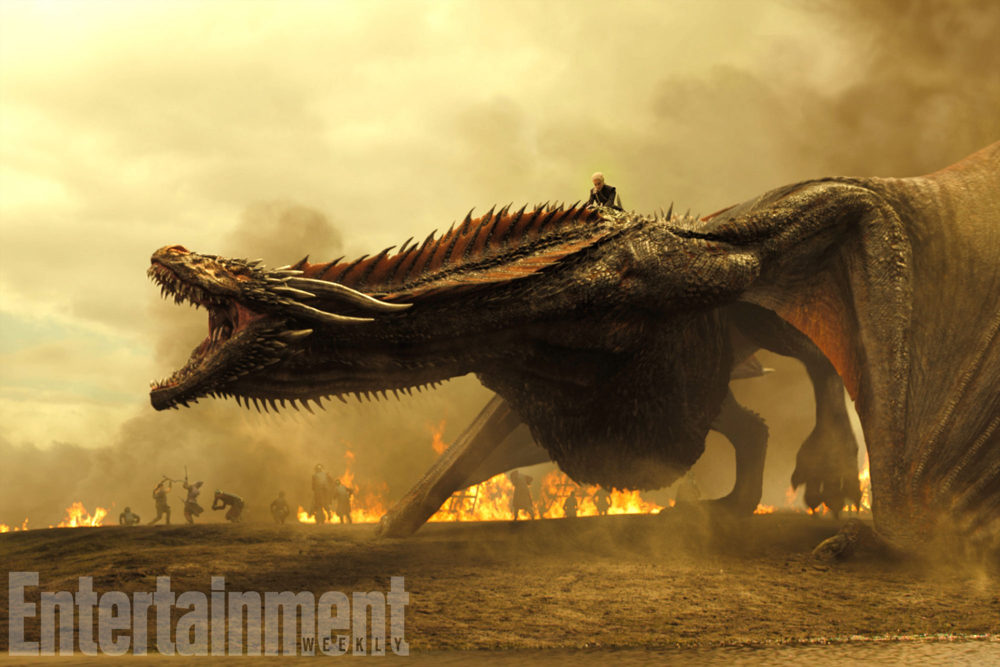 Dracarys! Daenerys' (Emilia Clarke) dragons are enormous in season 7 and ready for war in this jaw-dropping first-look battle image. More exclusive, new photos ahead.