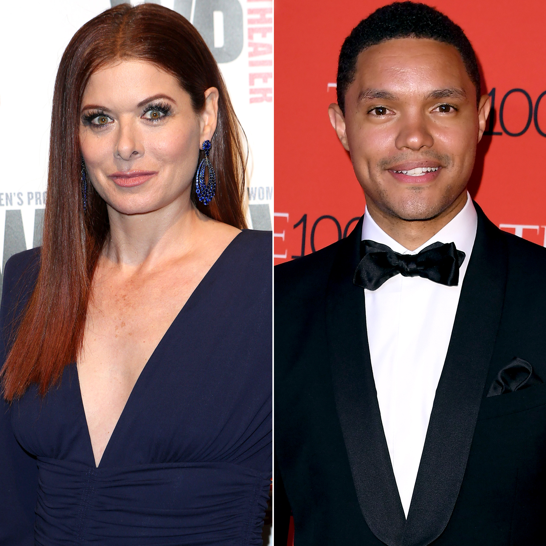 Debra Messing and Trevor Noah