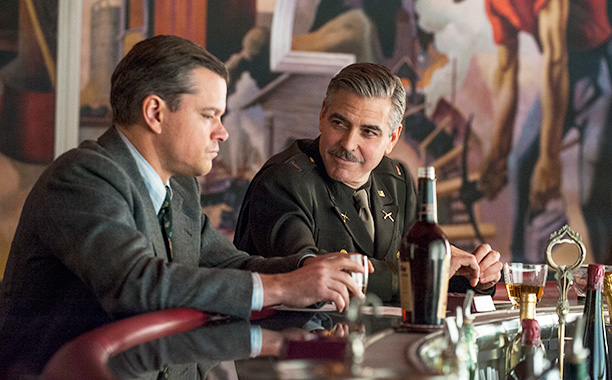 The Monuments Men' - George Clooney makes Matt Damon think he's gaining weight by taking in his pants