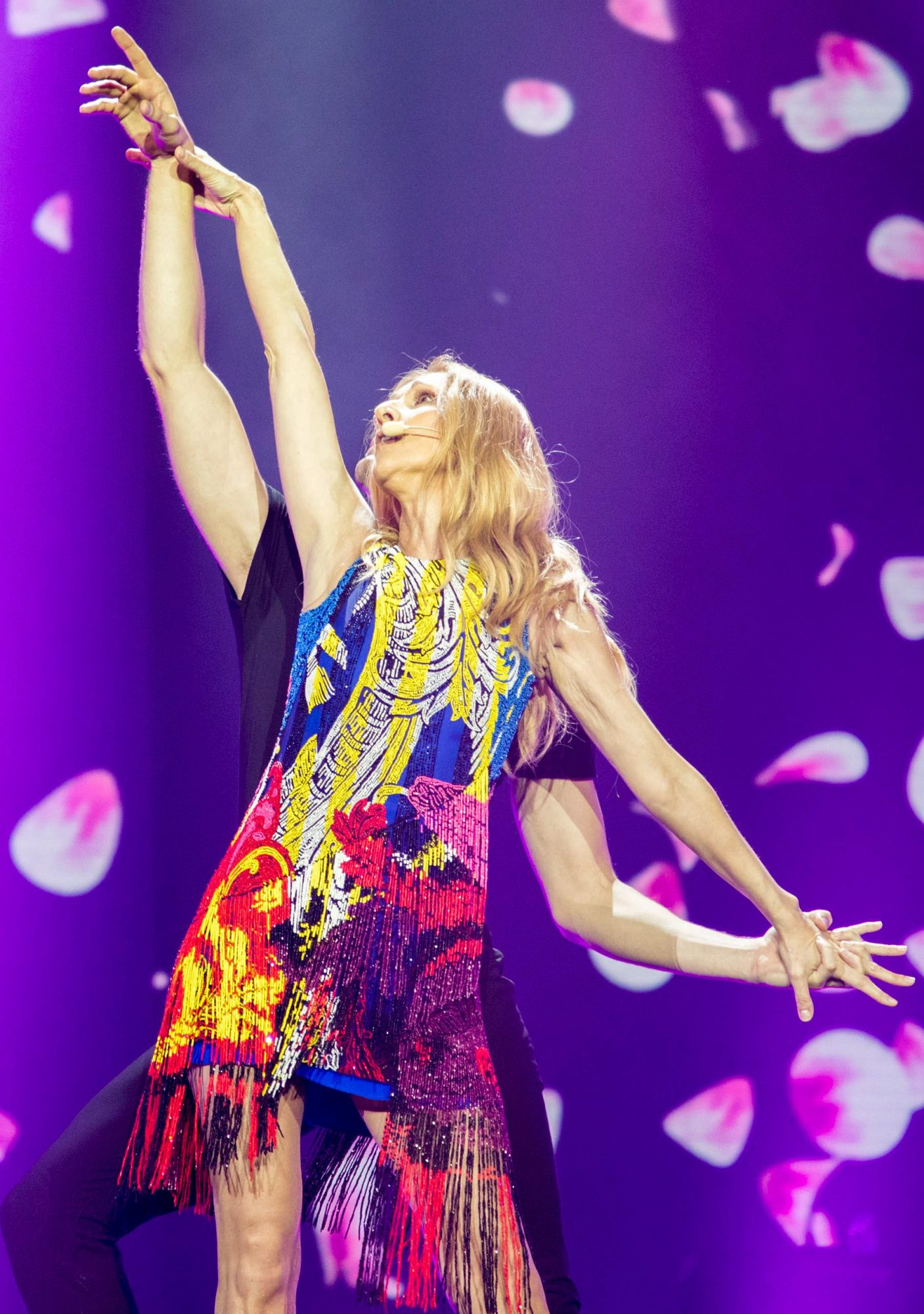 MACAU, CHINA - JUNE 29: Singer Celine Dion performs on the stage in concert at Cotai Strip Cotai Arena on June 29, 2018 in Macau, China. (Photo by VCG)