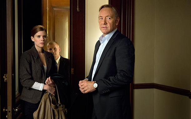 House of Cards - Kate Mara wears nipple pasties with Kevin Spacey's face in a love scene