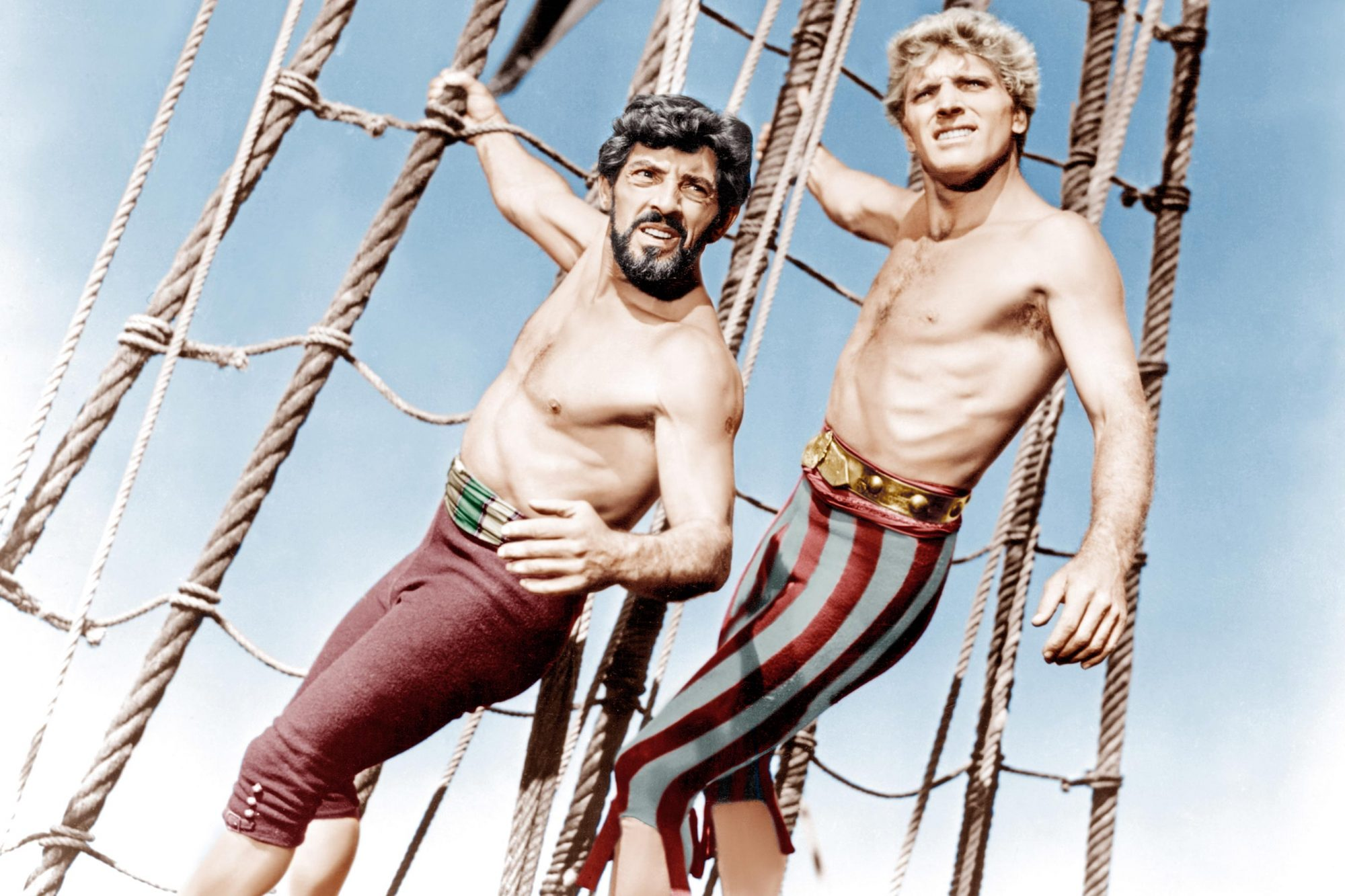 THE CRIMSON PIRATE, from left: Nick Cravat, Burt Lancaster, 1952