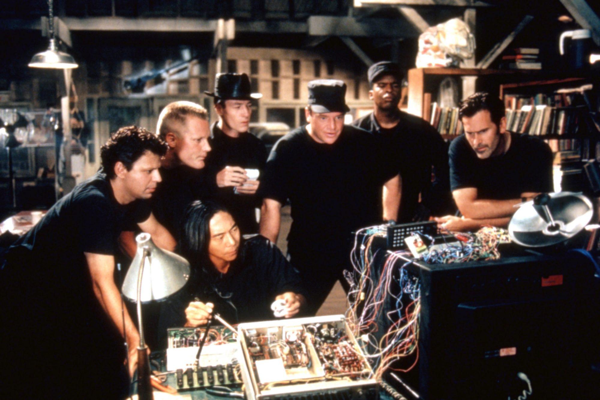 MCHALE'S NAVY, Danton Stone, Brian Haley, Henry Cho (seated), French Stewart, Tom Arnold, David Alan