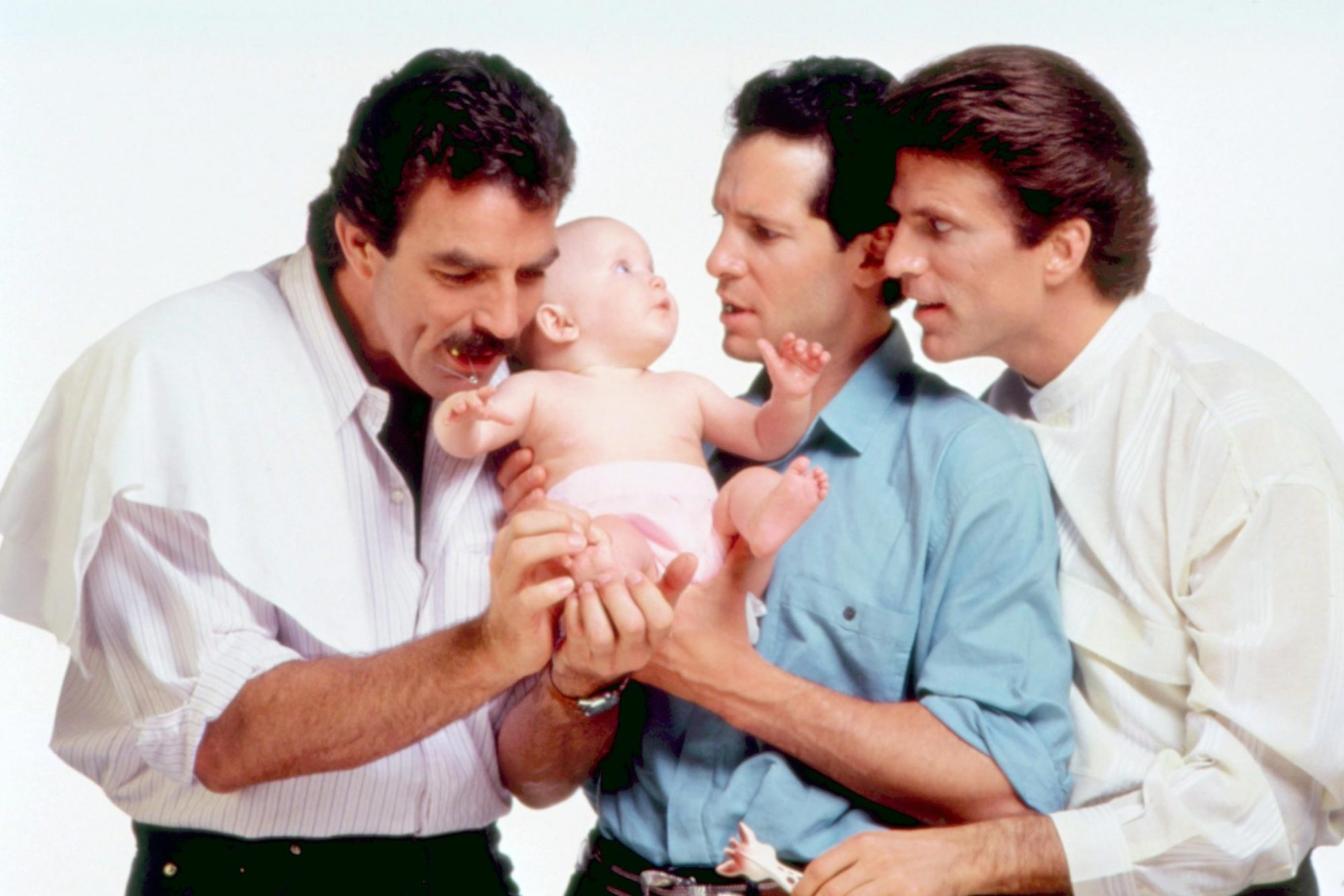 THREE MEN AND A BABY, Tom Selleck, Steve Guttenberg, Ted Danson, 1987. ©Touchstone Pictures/Courtesy