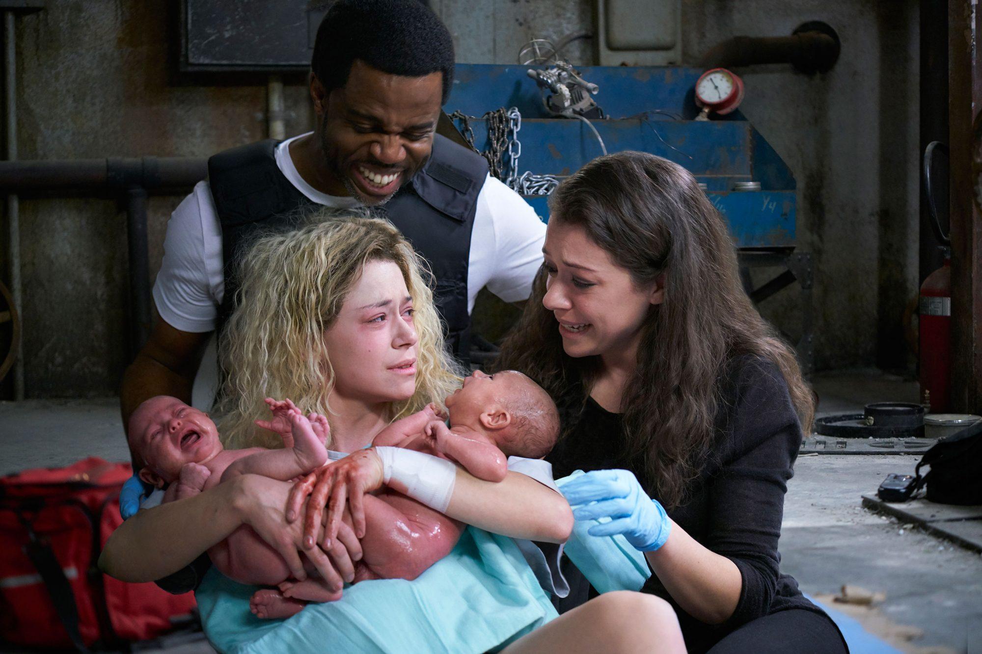 Art (Kevin Hanchard), Helena (Tatiana MAslany) and Sarah (Tatiana Maslany)