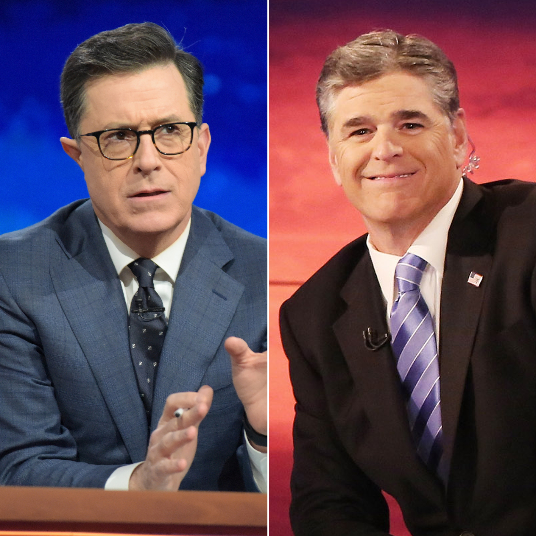 Stephen Colbert and Sean Hannity