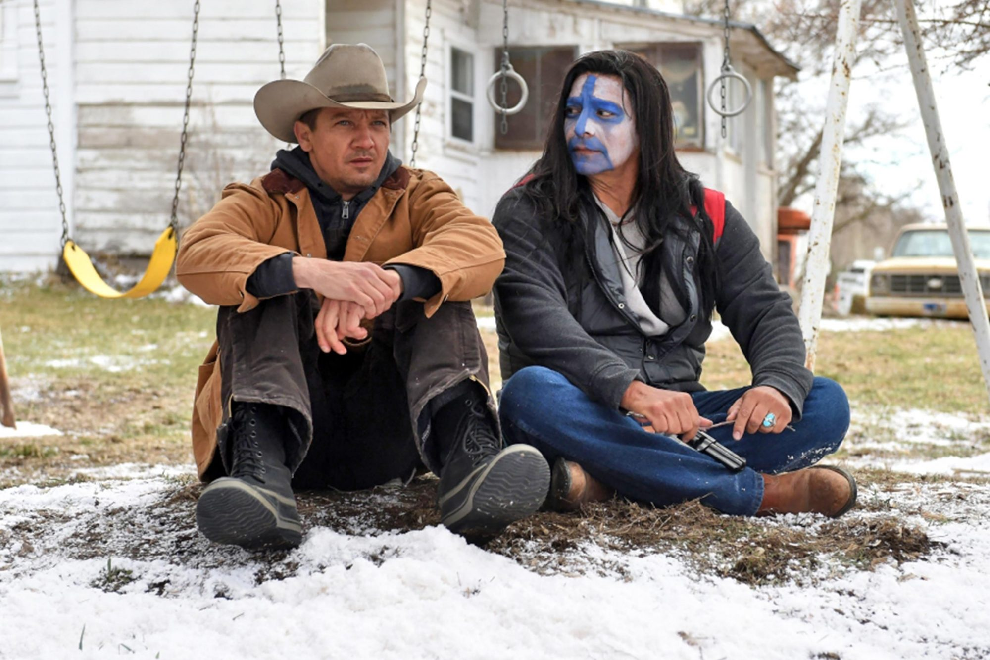 Gil Birmingham and Jeremy Renner in Wind River (2017) CR