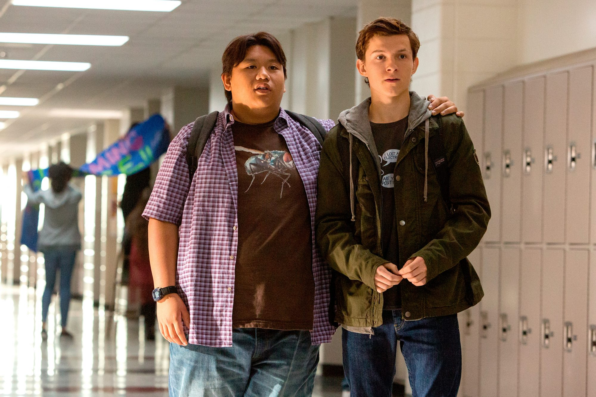 SPIDER-MAN: HOMECOMING (2017) Jacob Batalon (left) and Tom Holland