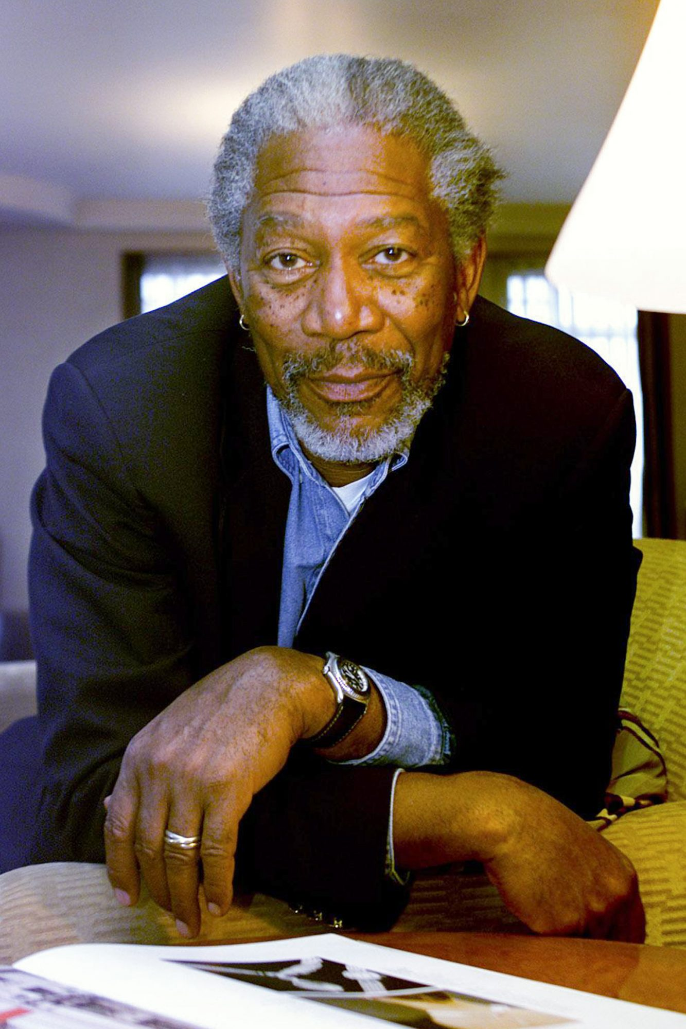 Picture shows actor Morgan Freeman in Melbourne, 16 July 2001. The Age Picture