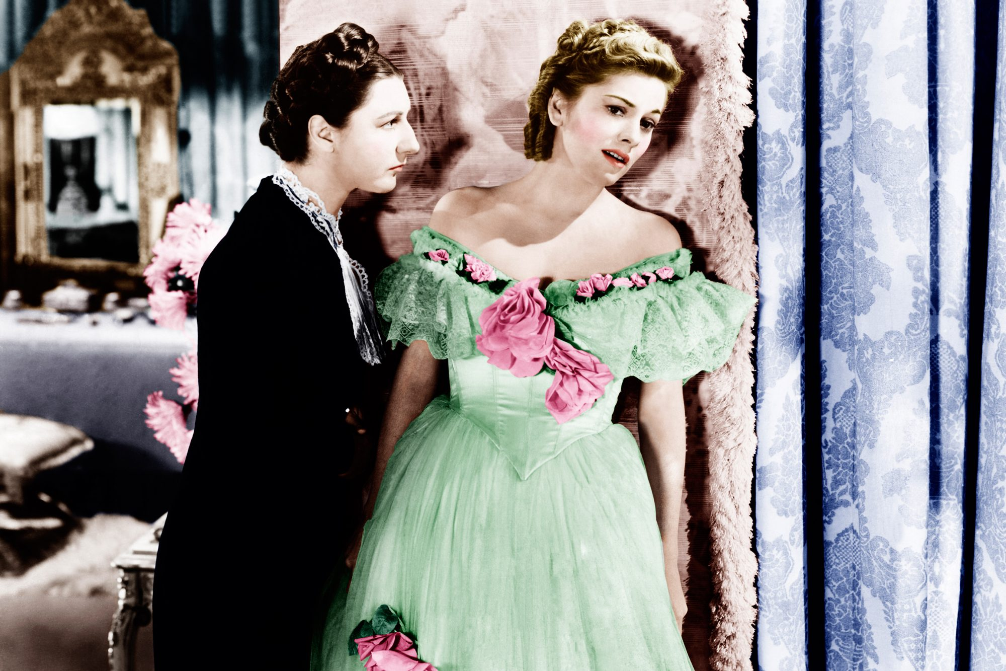 REBECCA, from left: Judith Anderson, Joan Fontaine, 1940