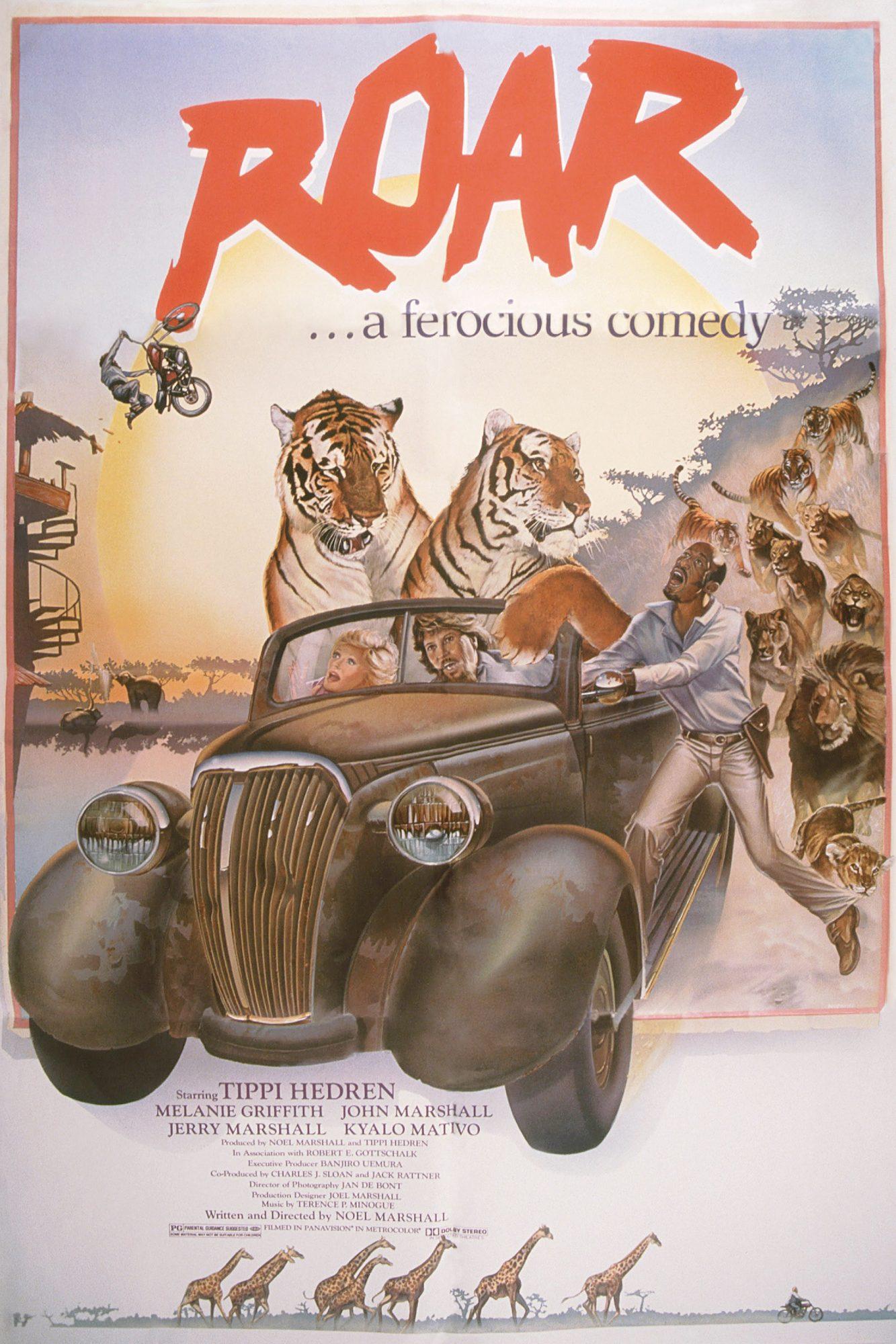 ROAR, US poster, in car from left: Tippi Hedren, Noel Marshall, 1981, © American Filmworks/courtesy