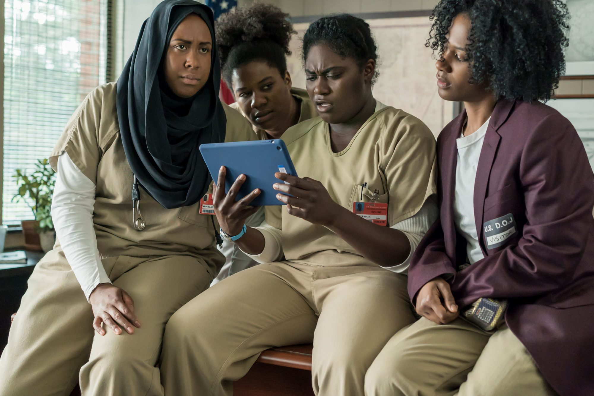 Amanda Stephen as Alison Abdullah, Adrienne C. Moore as Cindy  Black Cindy  Hayes, Danielle Brooks as Tasha  Taystee  Jefferson, and Vicky Jeudy as Janae Watson