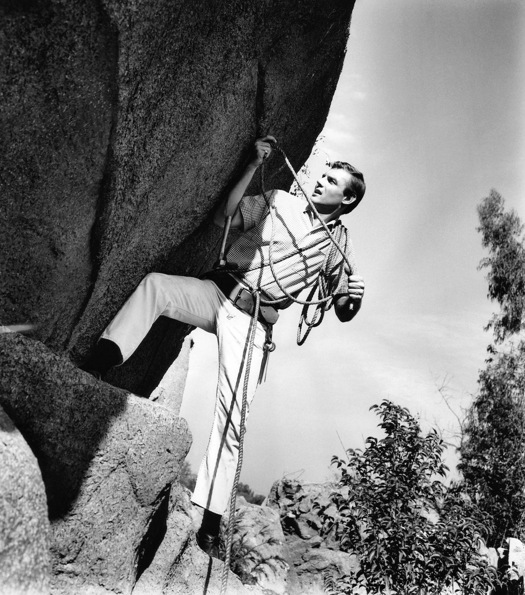 Adam West rock climbing, ca. 1961
