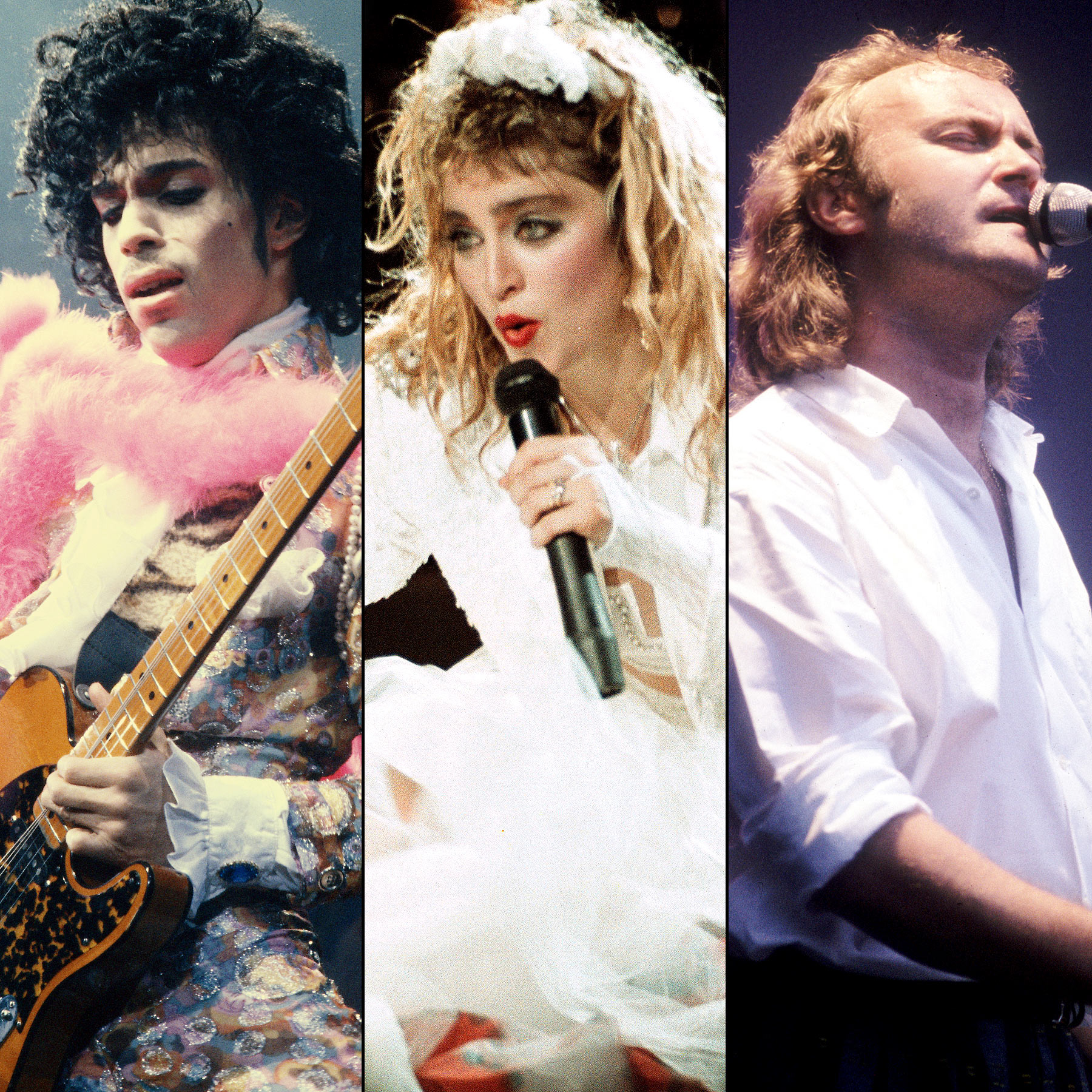 Prince, Madonna and Phil Collins