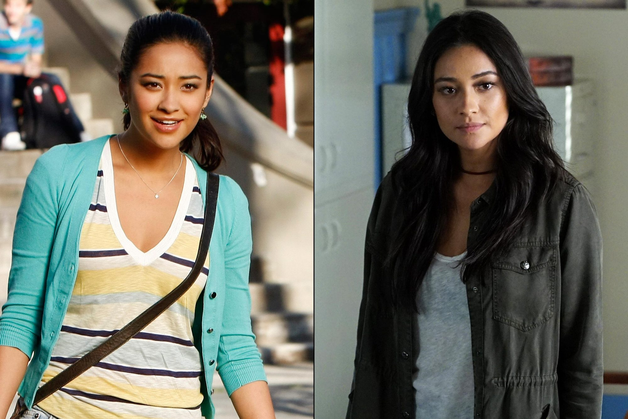 Shay Mitchell as Emily Fields in season 1 (left) and season 7 (right)