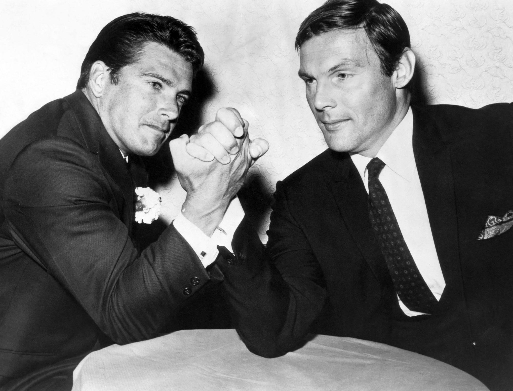 GREEN HORNET, Van Williams, Adam West in a ABC publicity shot (1967), 1966-67