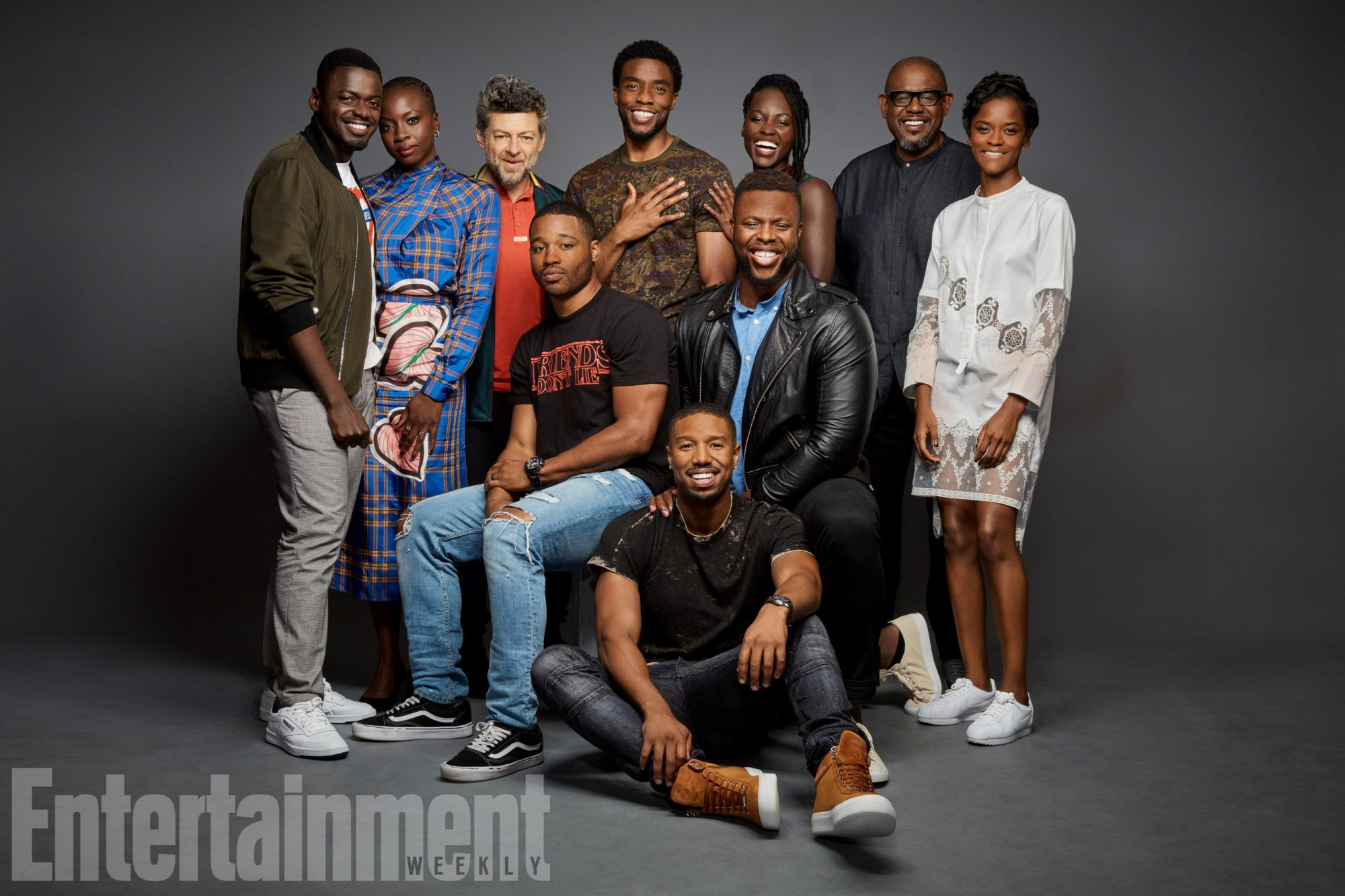 Team Black Panther: Daniel Kaluuya, Danai Gurira, Andy Serkis, Chadwick Boseman, Lupita Nyong'o, Forest Whitaker, Letitia Wright, Winston Duke, Michael B. Jordan, and director Ryan Coogler