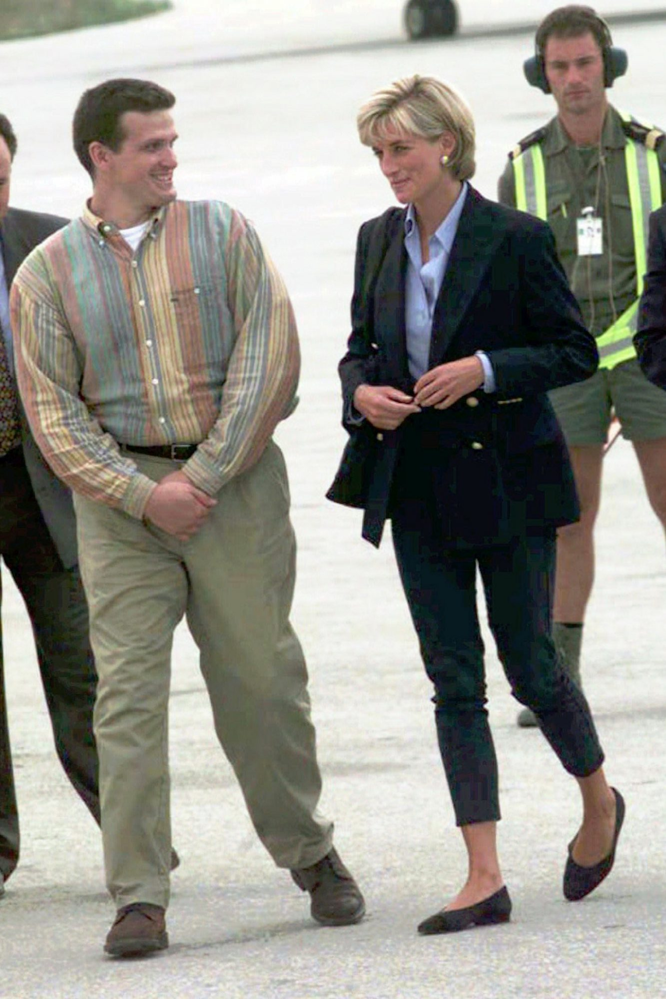 Diana arrived at the Sarajevo International Airport on Aug. 8, 1997