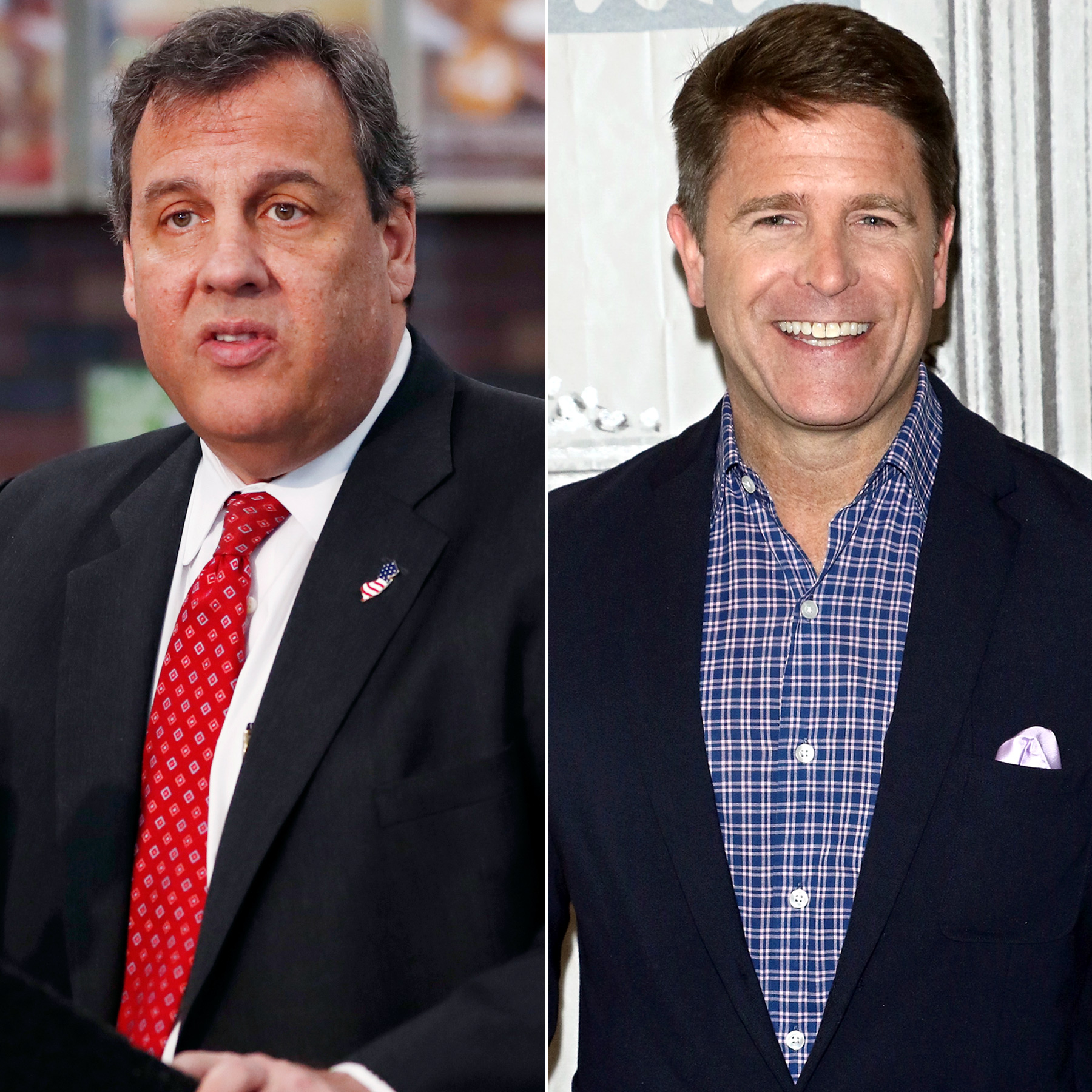 Chris Christie and Brad Thor (split)