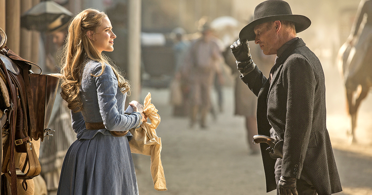 2016 Episode Gallery: WESTWORLD Evan Rachel Wood as Dolores Abernathy, Ed Harris as The Man in Black