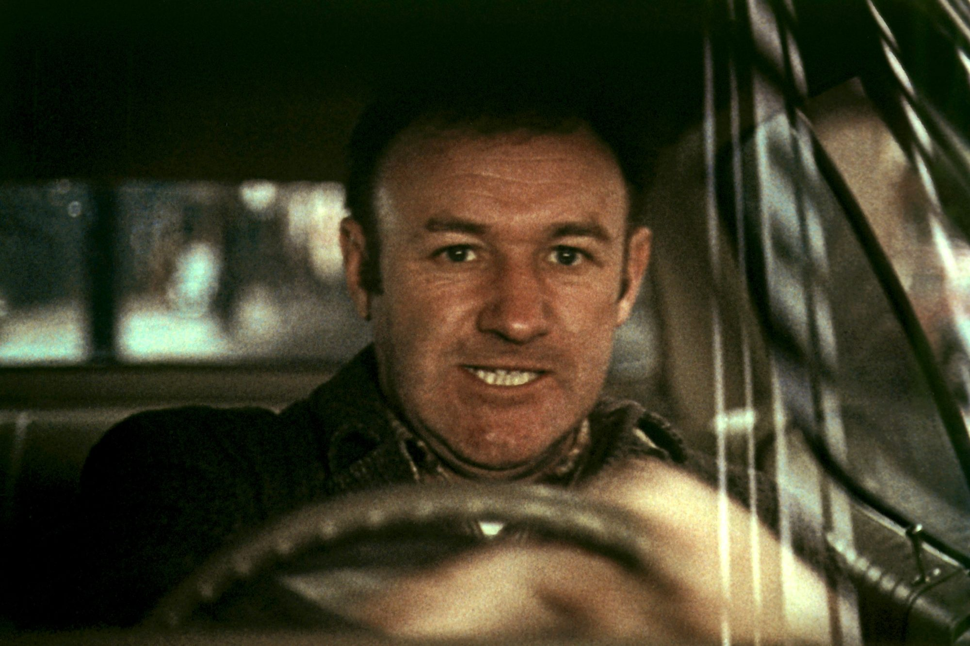 THE FRENCH CONNECTION, Gene Hackman, 1971, in the famous car chase scene. TM & Copyright (c) 20th Ce
