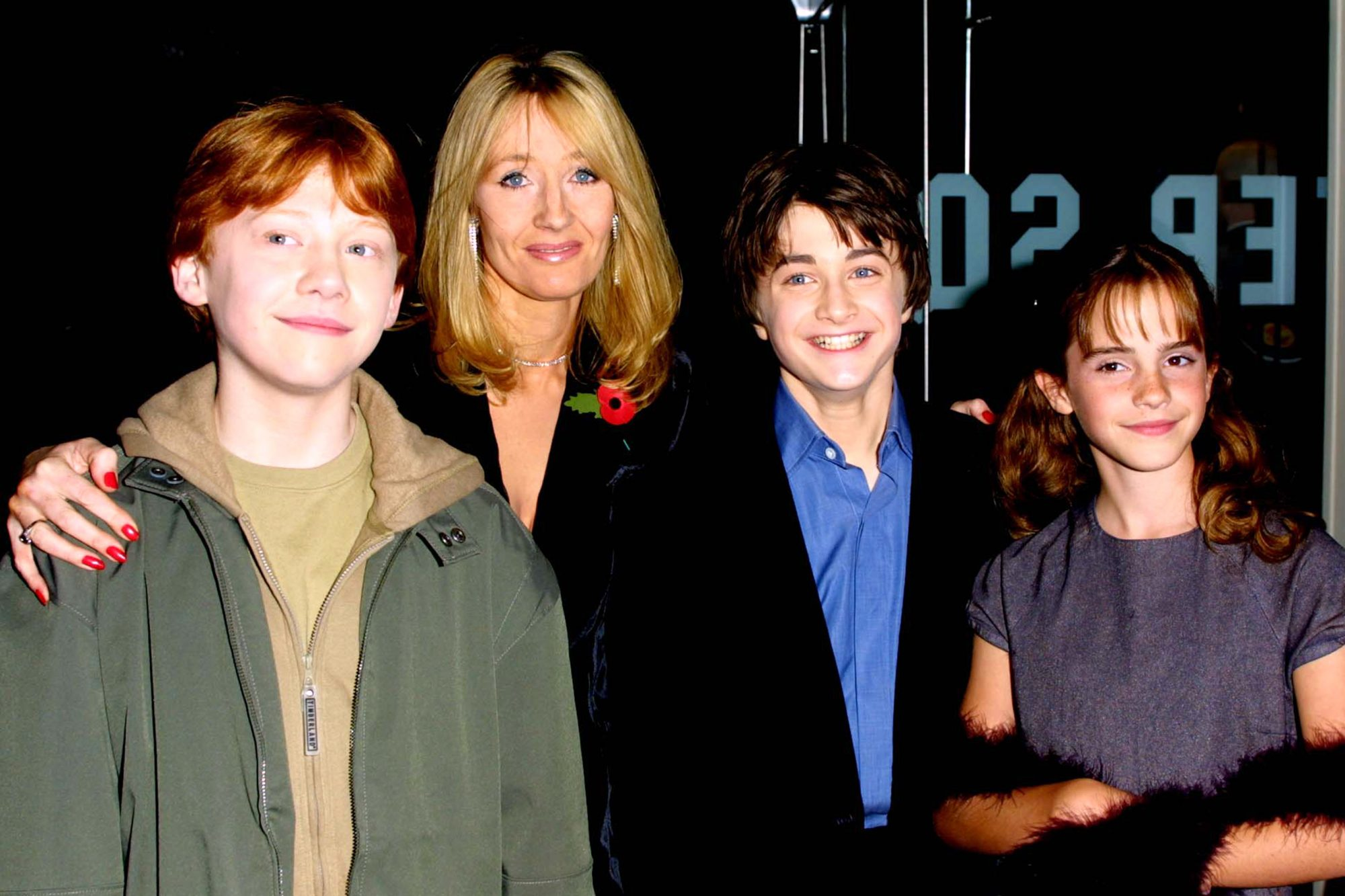Rupert Grint, JK Rowling, Daniel Radcliffe and Emma Watson at the Harry Potter premiere in London