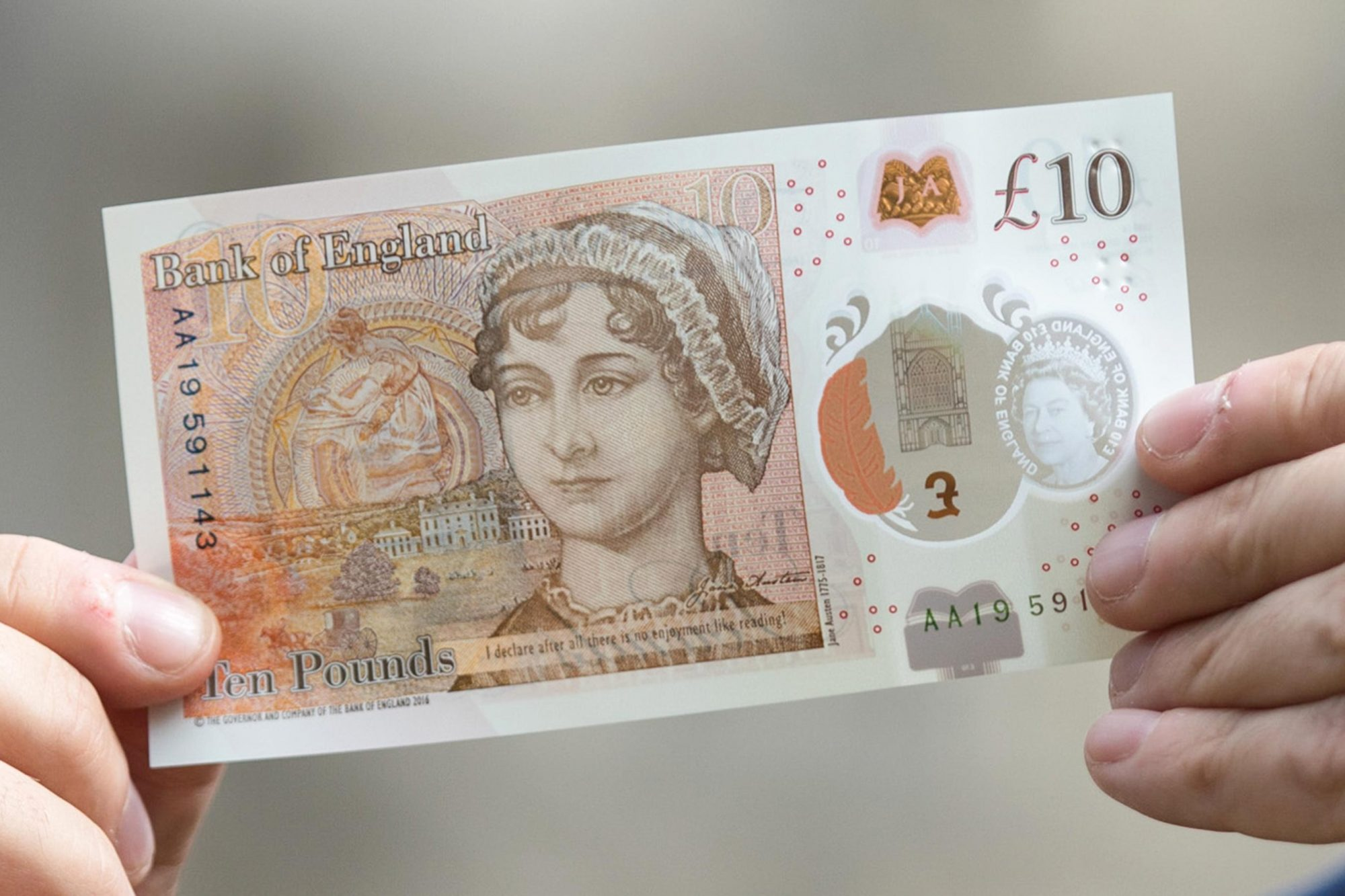 Bank Of England Governor Mark Carney Unveils The New 10 Pound Note Featuring Jane Austen