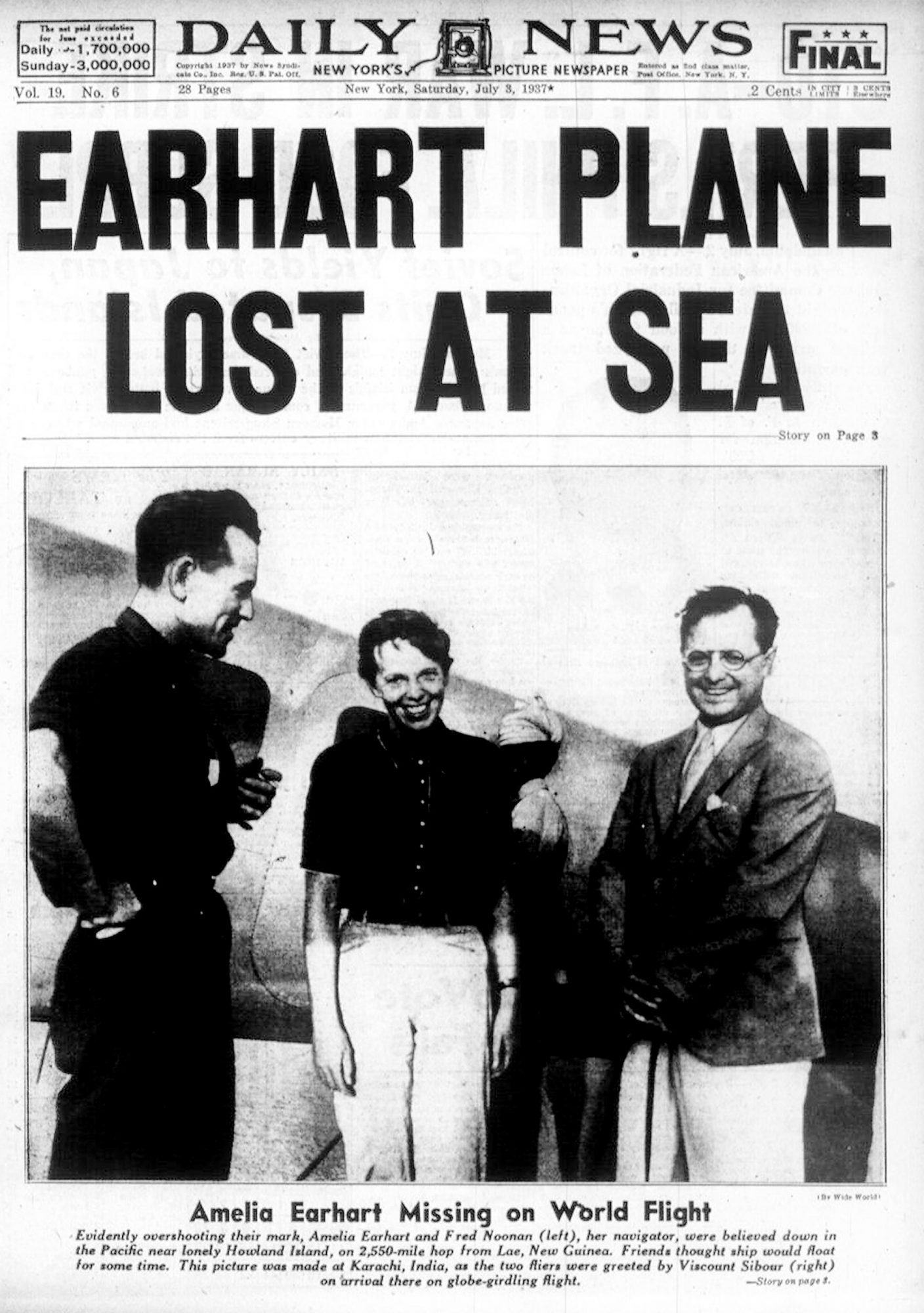 Front page of the Daily News dated July 3, 1937, Headline: E