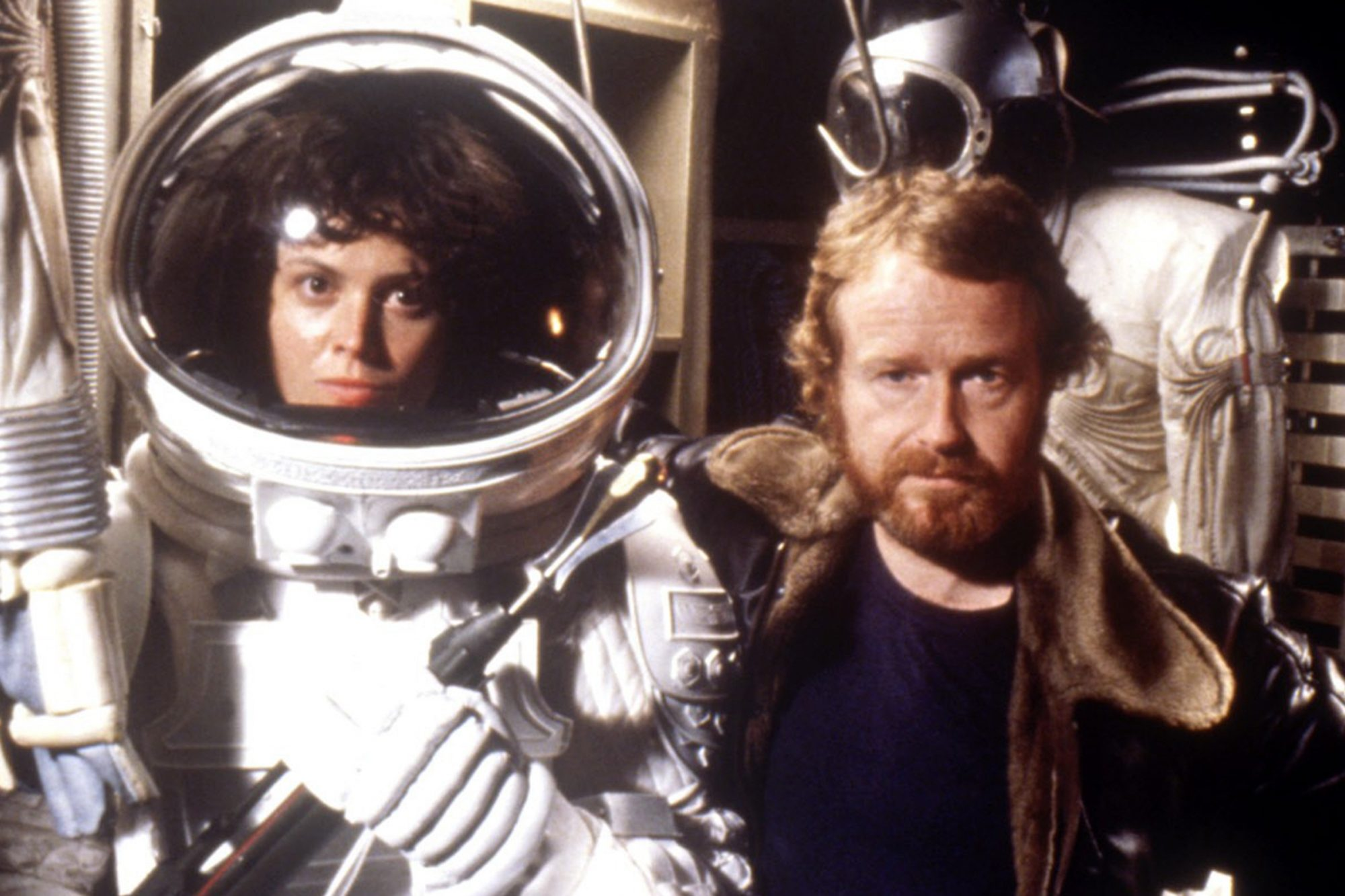 Sigourney Weaver, director Ridley Scott on the set of ALIEN, 1979, TM & Copyright (c) 20th Century F