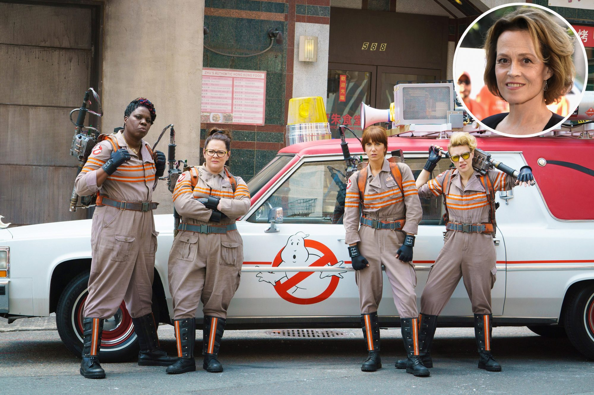 GHOSTBUSTERS, from left: Leslie Jones, Melissa McCarthy, Kristen Wiig, Kate McKinnon; background: