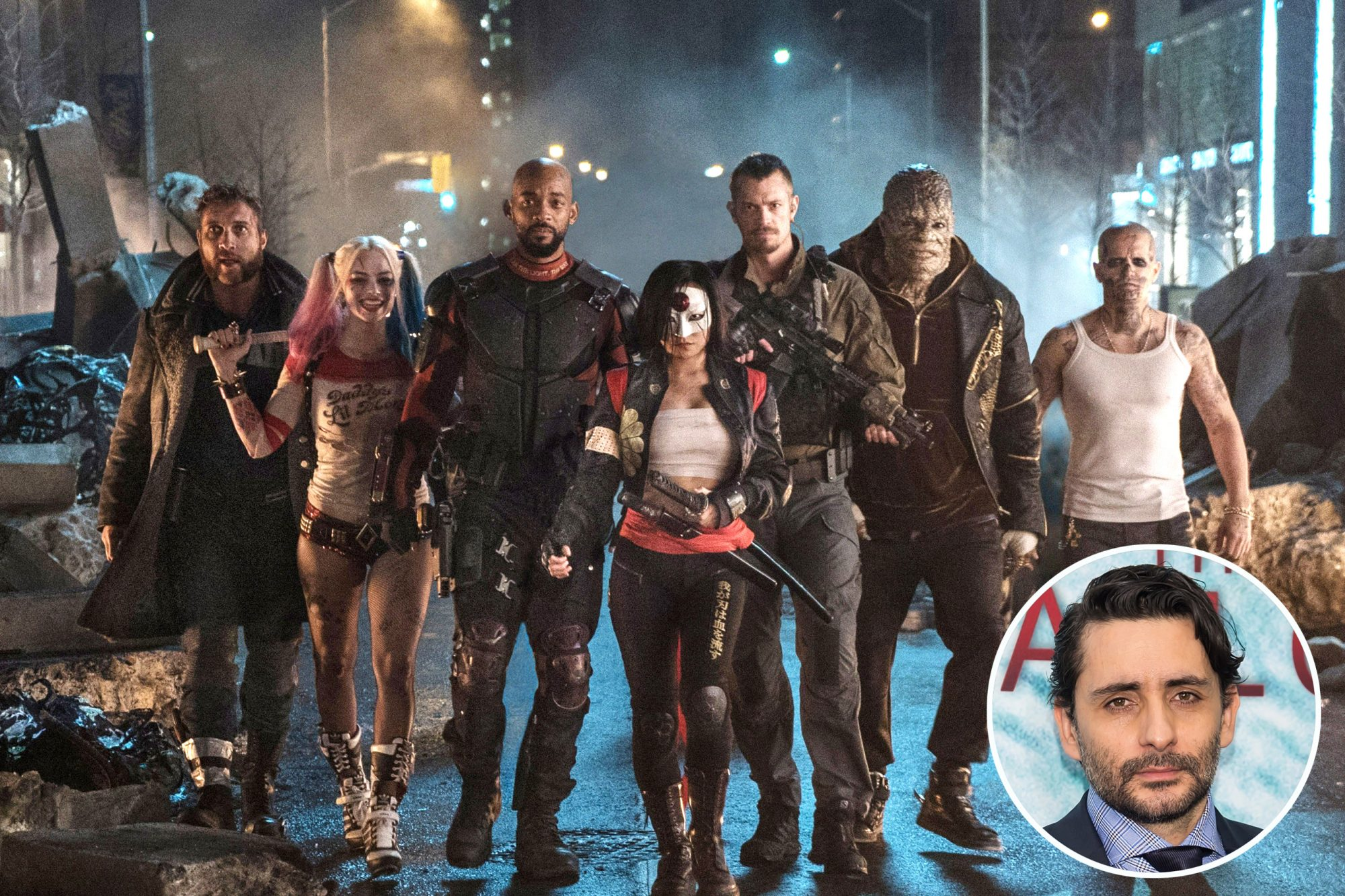 SUICIDE SQUAD, from left: Jai Courtney, Margot Robbie, Will Smith, Karen Fukuhara, Joel Kinnaman,