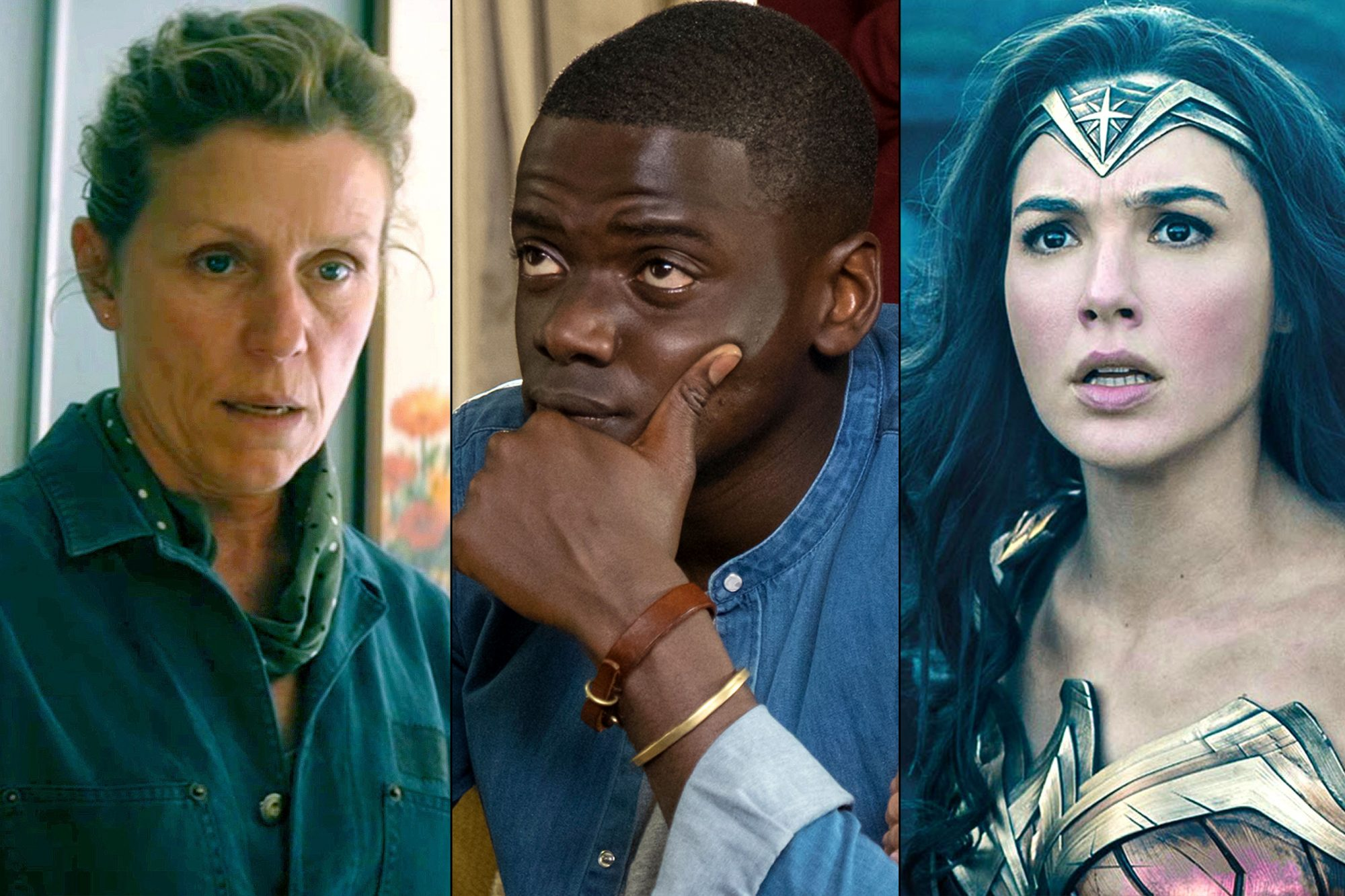 Three Billboards/ Get Out/ Wonder Woman