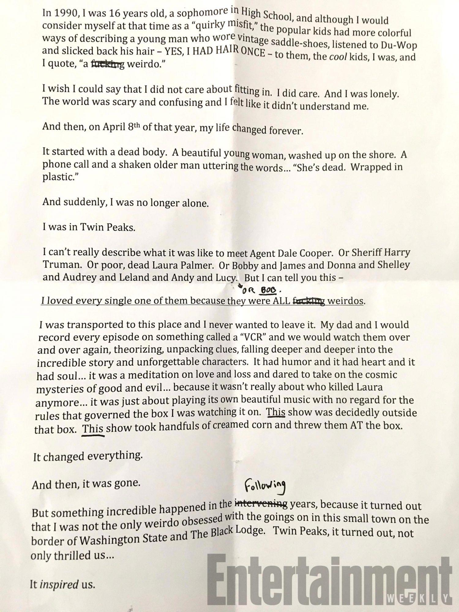 Twin Peaks transcripts CR: Damon Lindelof