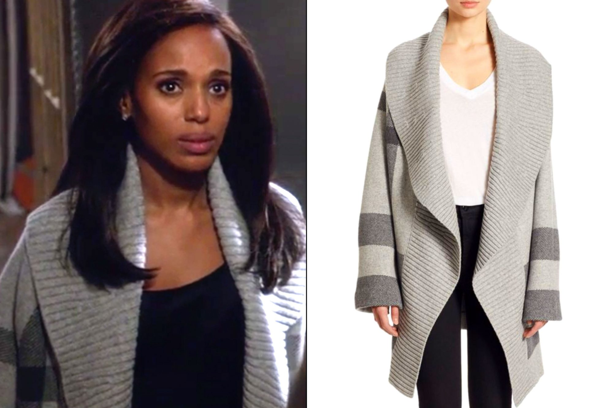 Olivia Pope's (Kerry Washington) open cardigan on Scandal