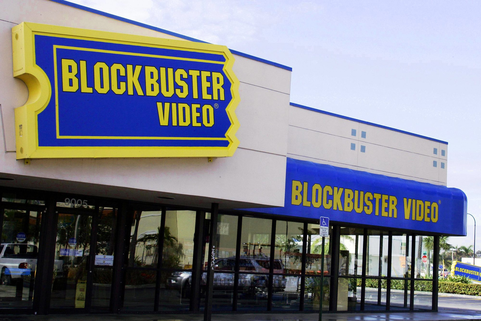 A Blockbuster video rental store is show