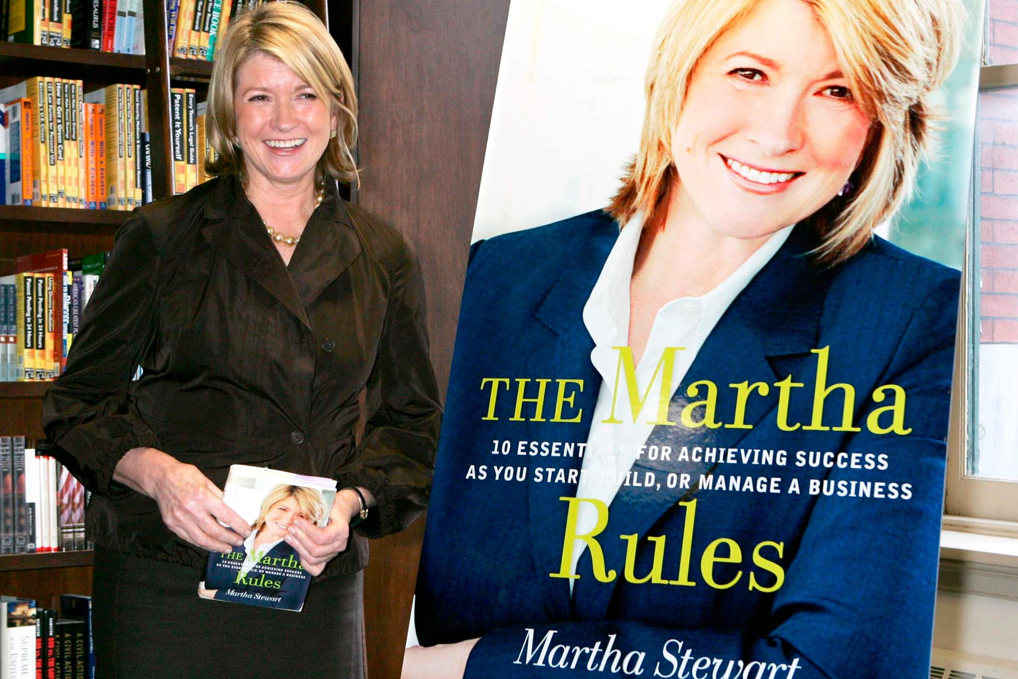 Martha Stewart poses before a book signing event for her new