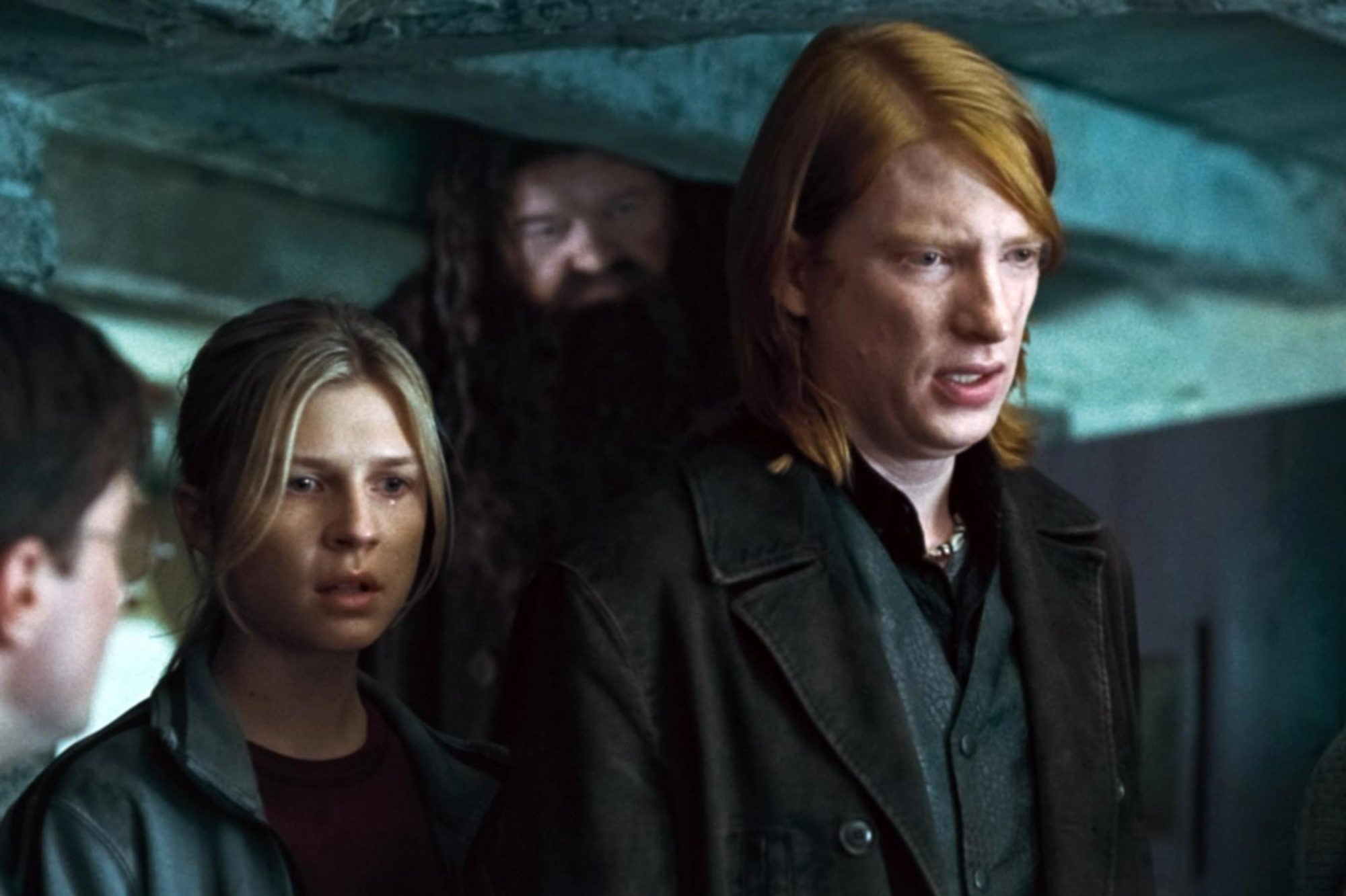 HARRY POTTER AND THE DEATHLY HALLOWS: PART 1, from left: Clemence Poesy, Robbie Coltrane, Domhnall G