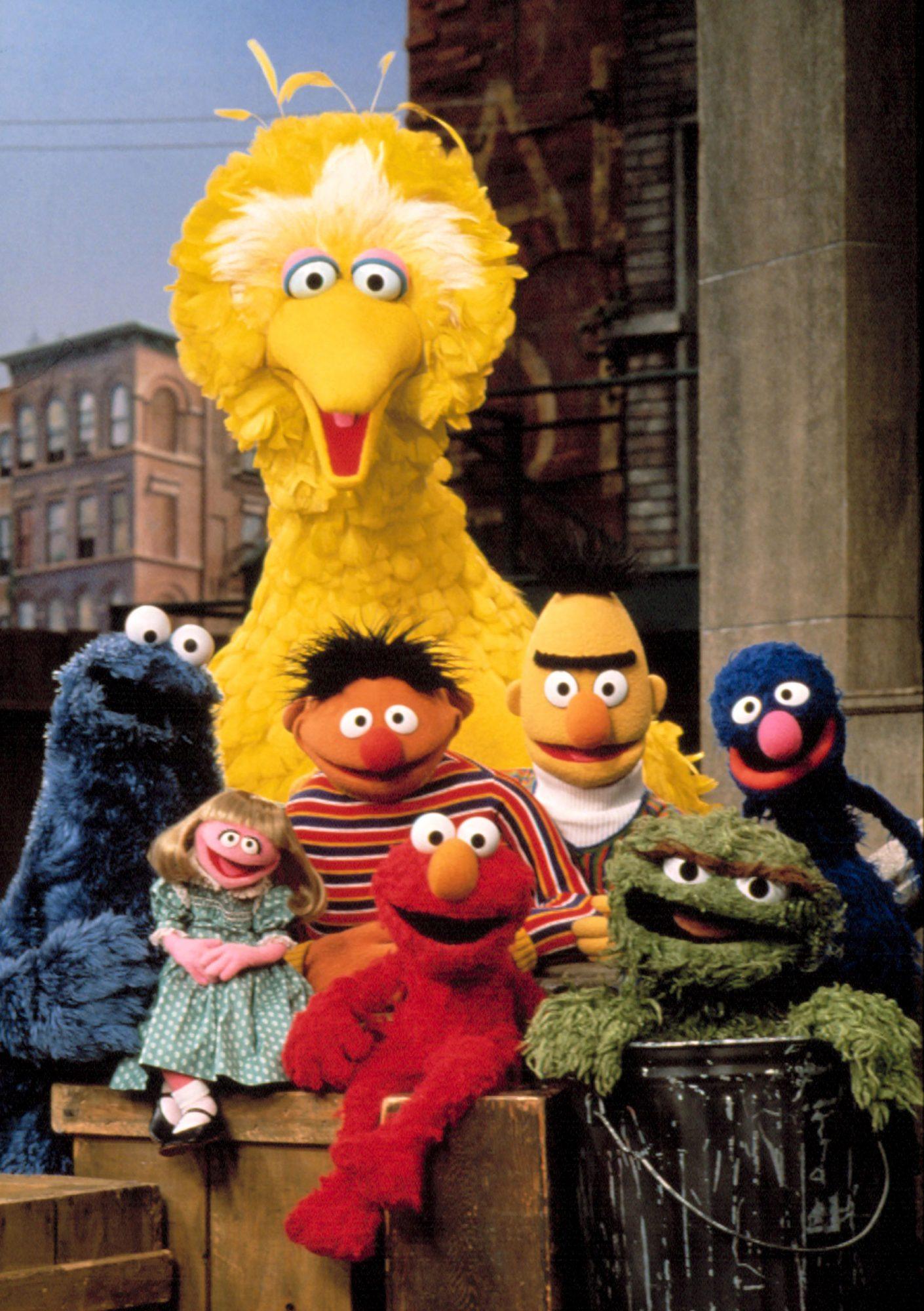 SESAME STREET, (L-R), Cookie Monster, Prairie Dawn, Big Bird, Ernie, Elmo, Bert, Oscar the Grouch, G