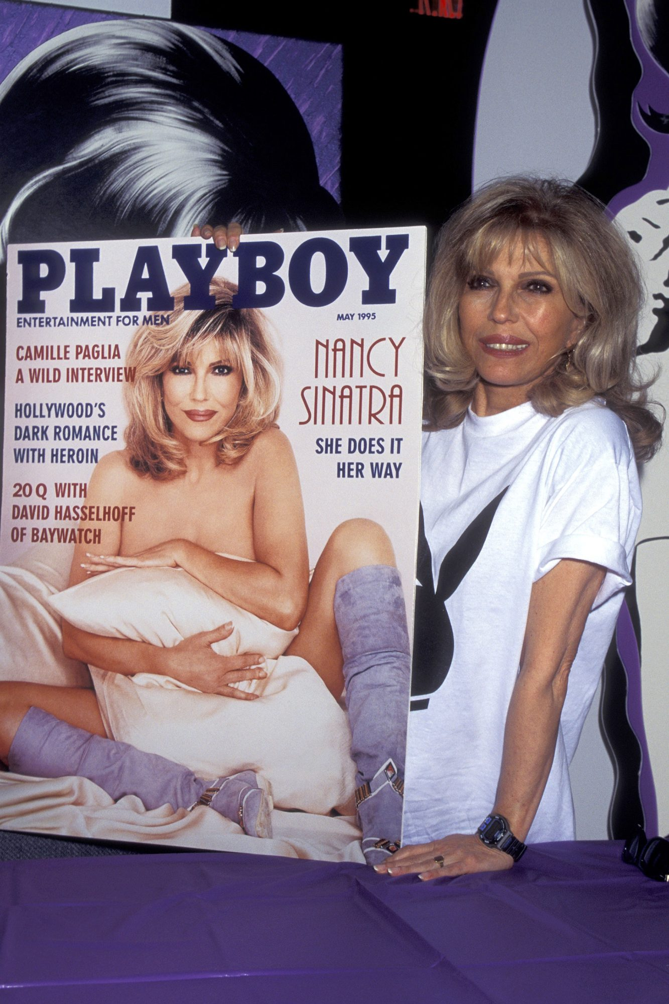 Nancy Sinatra Autographing Playboy Magazine & 1960's Album Reissue - April 14, 1995