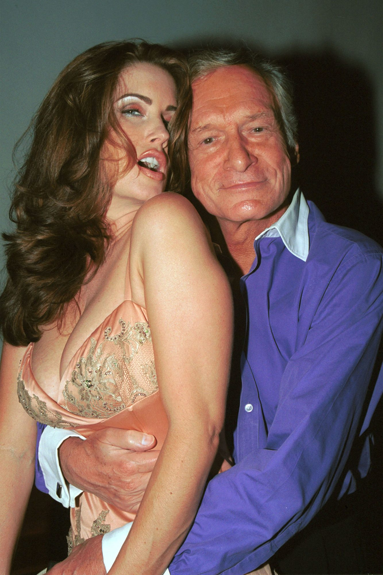 Carrie Stevens and Hugh Hefner at Tongue Magazine Party