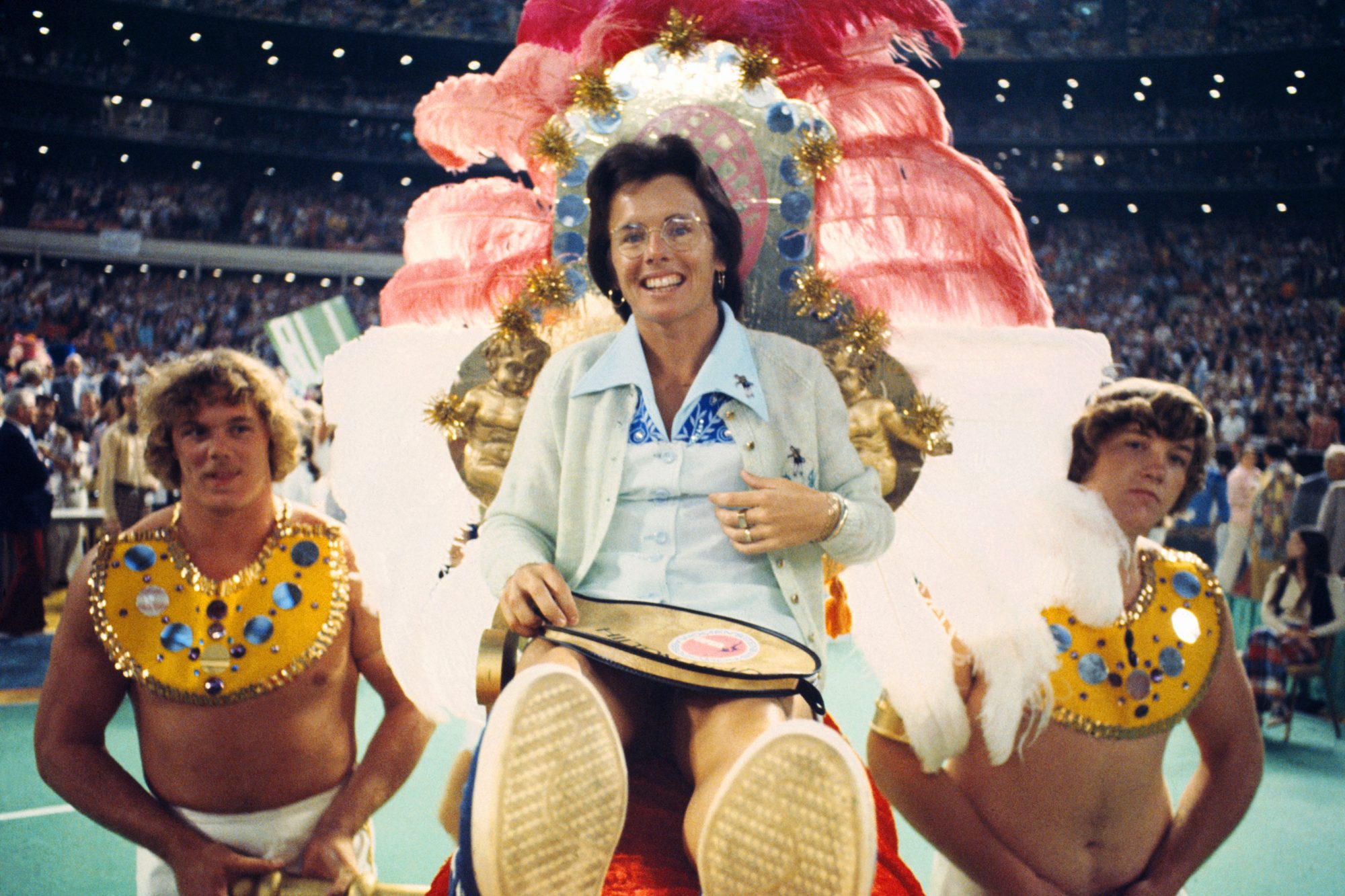 Tennis Player Billie Jean King Being Carried on Palanquin